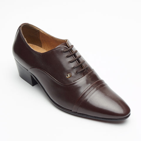 Mens Cuban Heel Leather Shoes - 26286 Brown