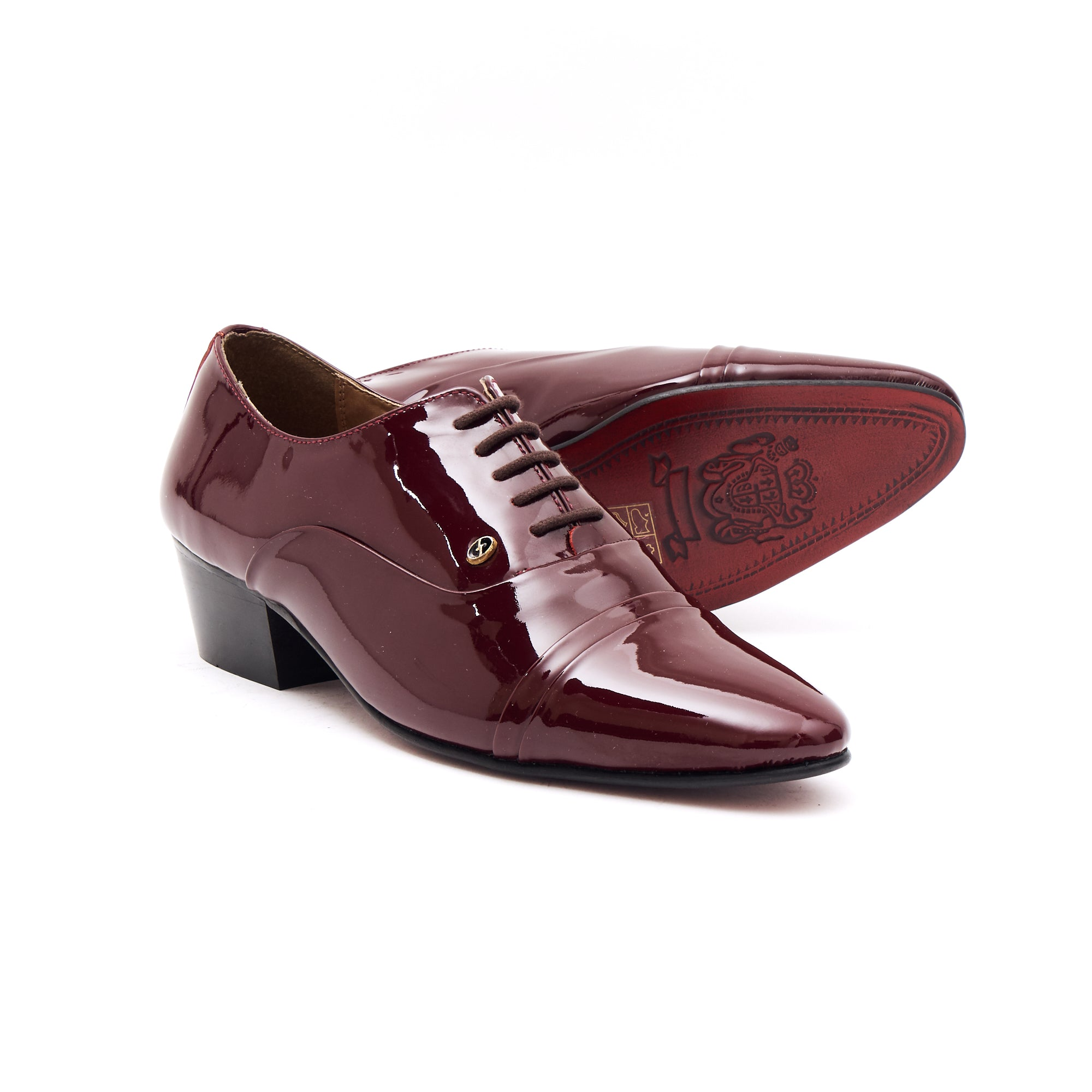 Mens Leather Cuban Heel Patent Shoes - 26286 Burgundy