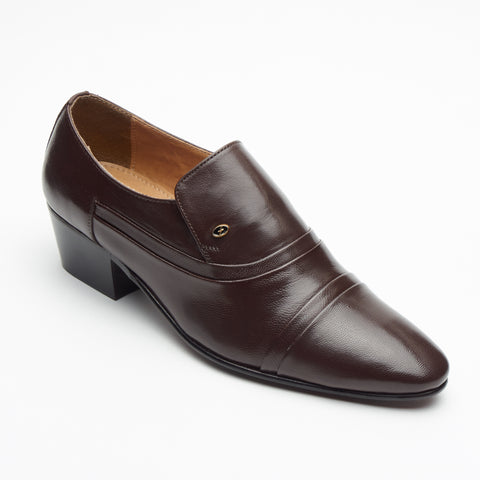 Mens Cuban Heel Leather Shoes - 26287 Brown