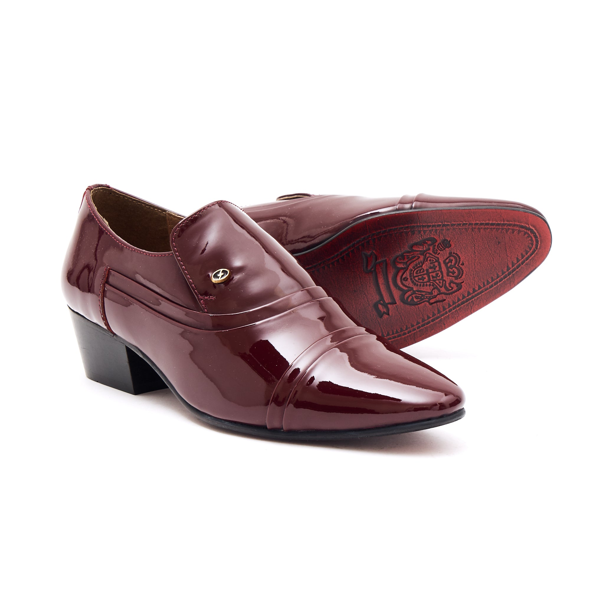 Mens Leather Cuban Heel Patent Shoes - 26287 Burgundy