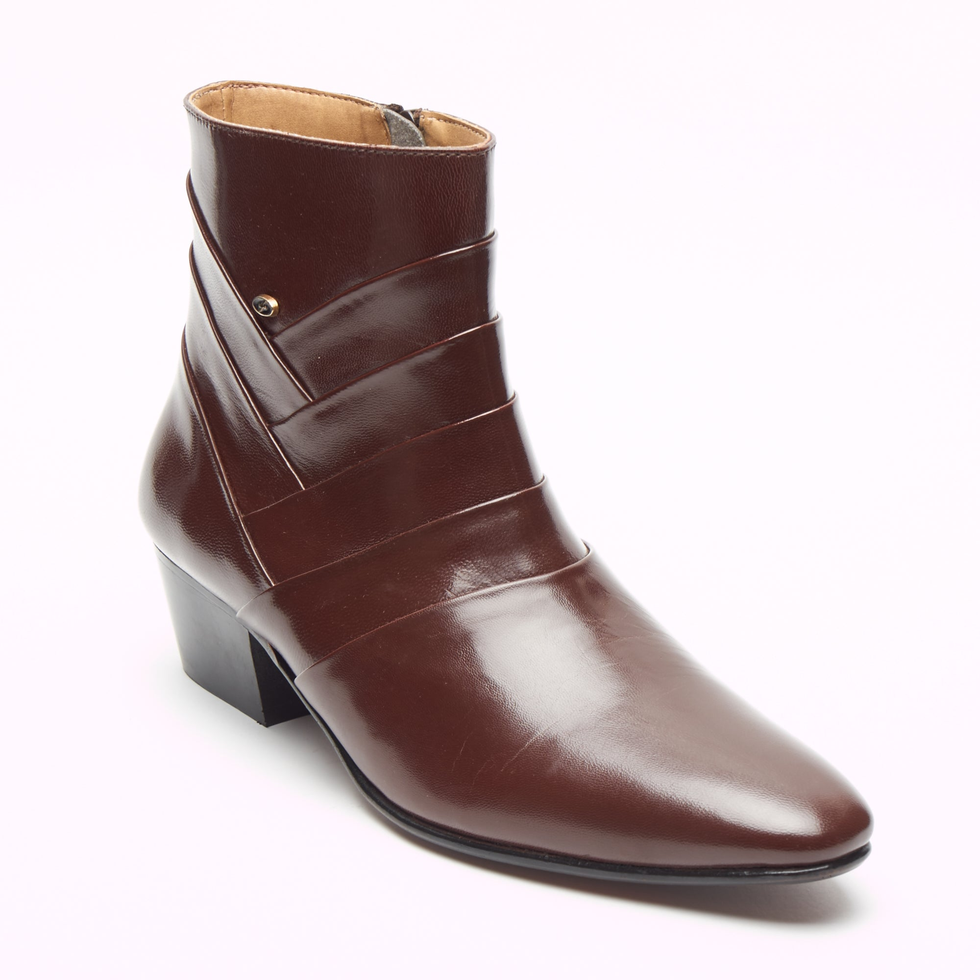 Mens Cuban Heel Leather Boots - 26288 Brown
