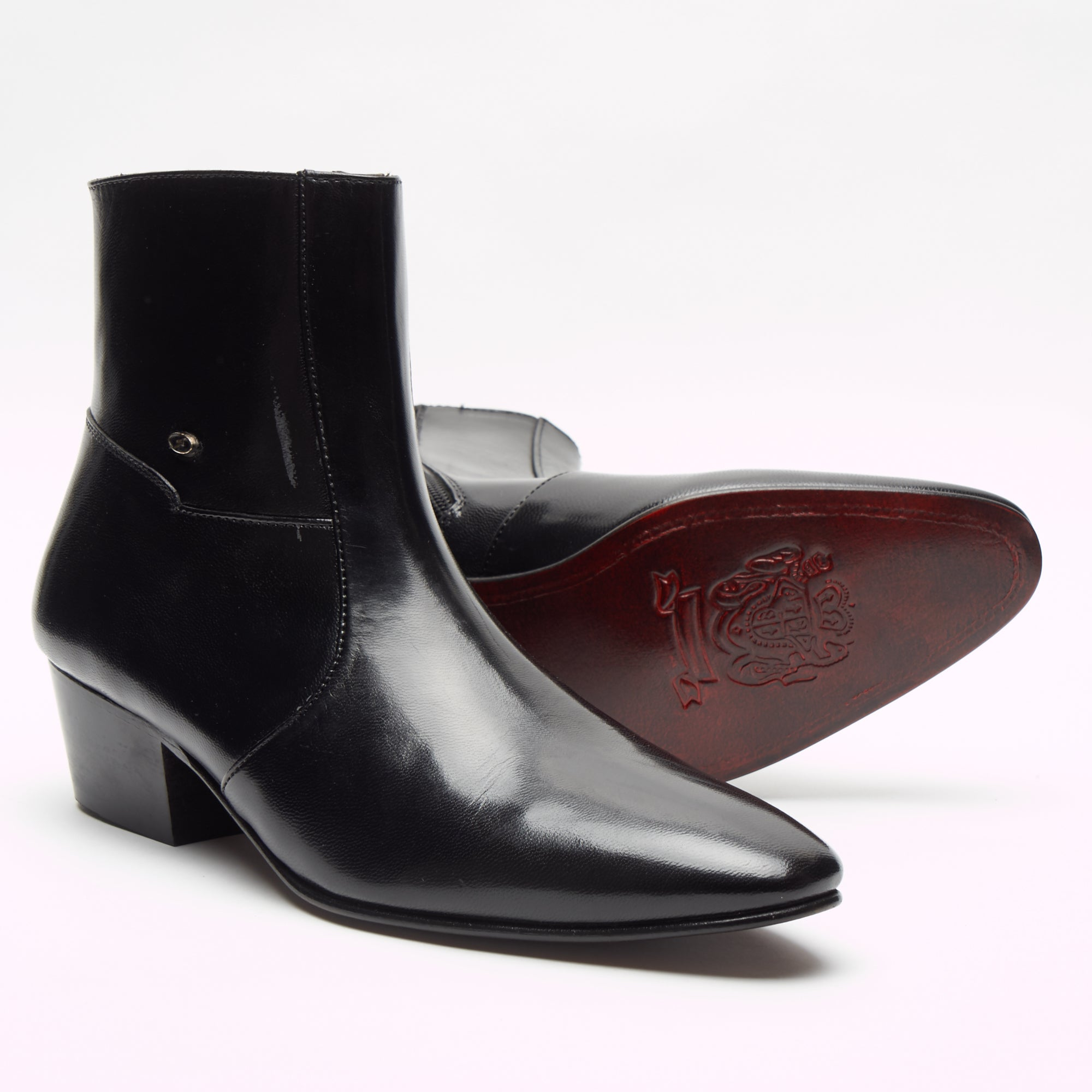 Mens Cuban Heel Leather Boots - 26490 Black
