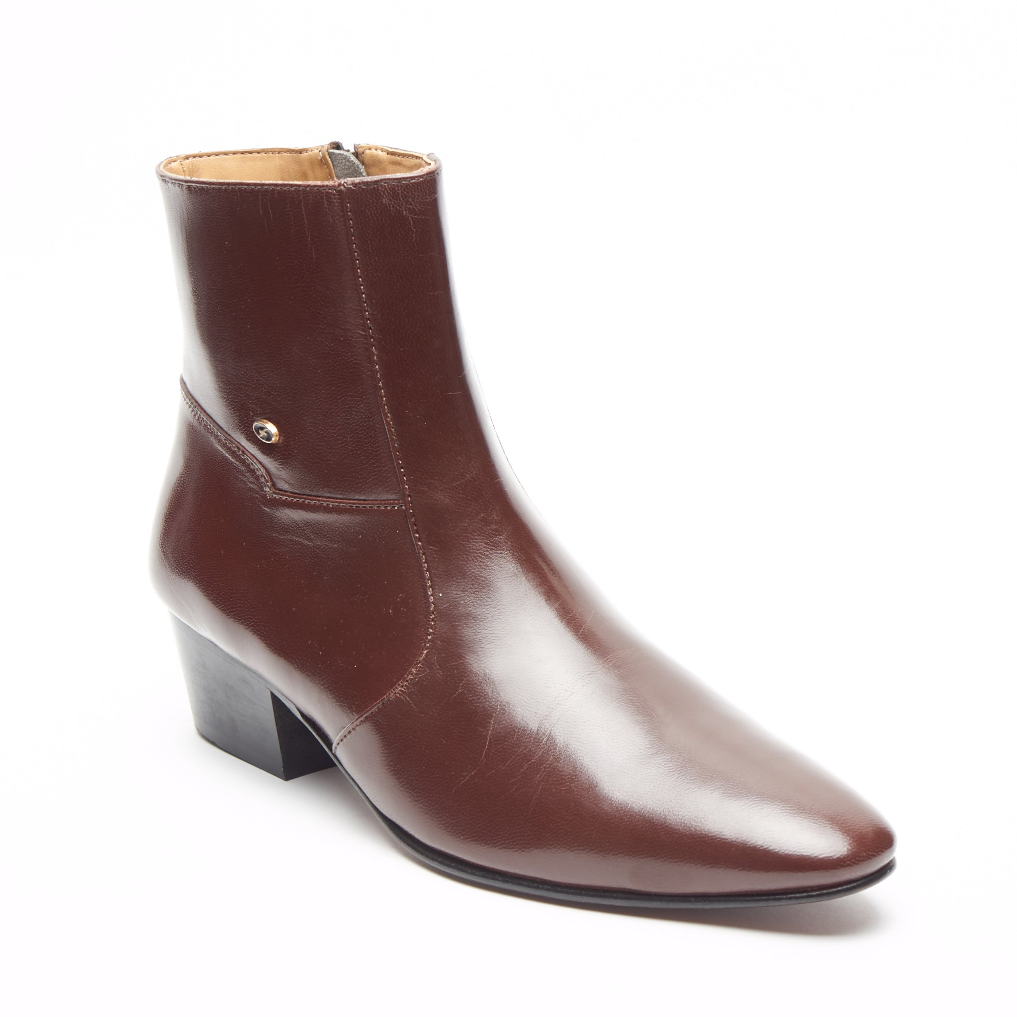 Mens Cuban Heel Leather Boots - 26490 Brown