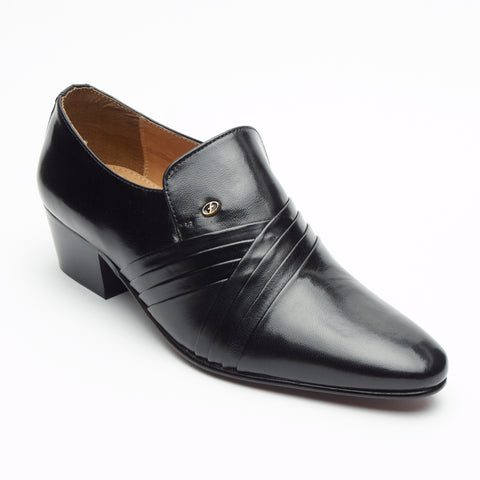 Mens Cuban Heel Leather Shoes - 26544 Black