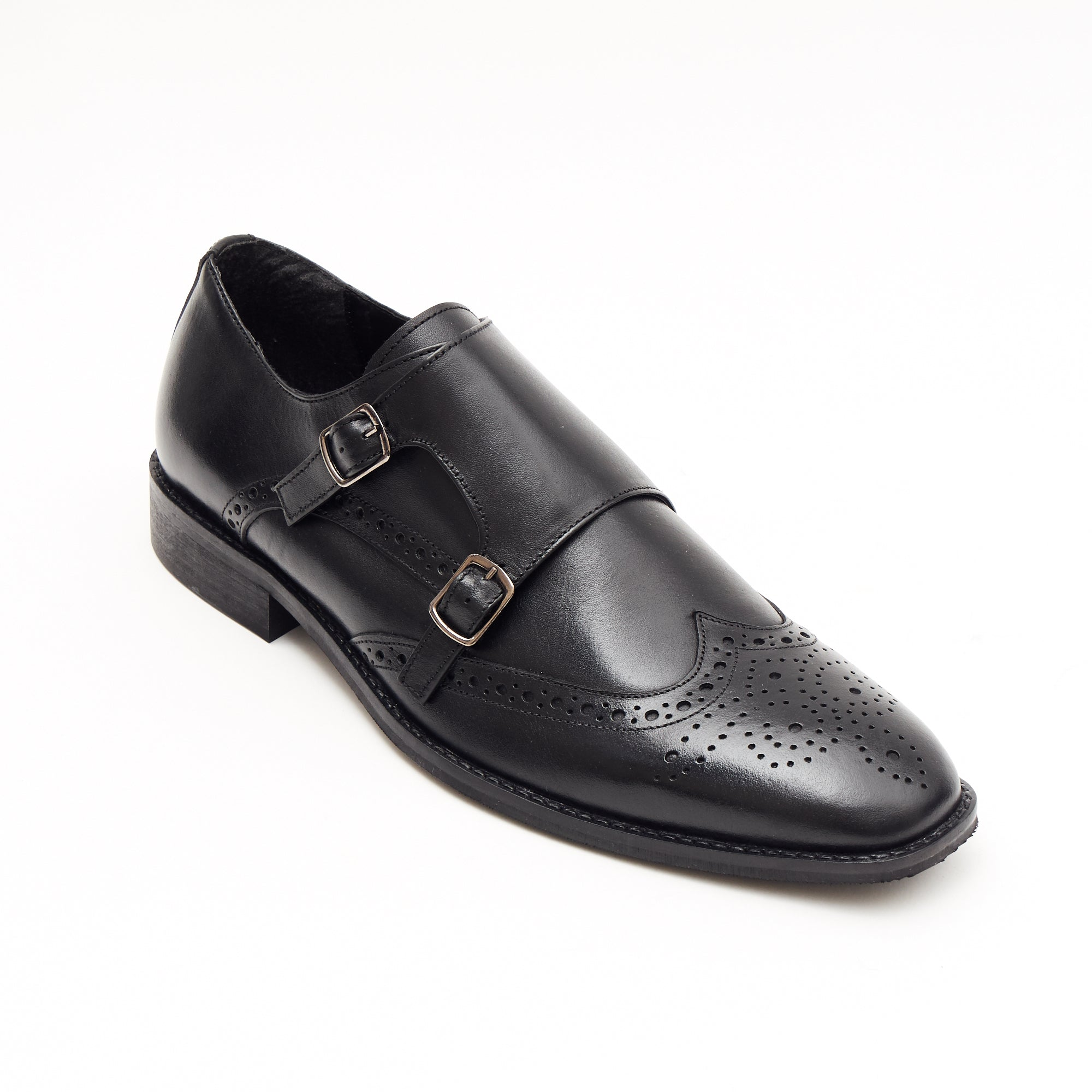 Mens Leather Double Monk Shoes 27701_Black