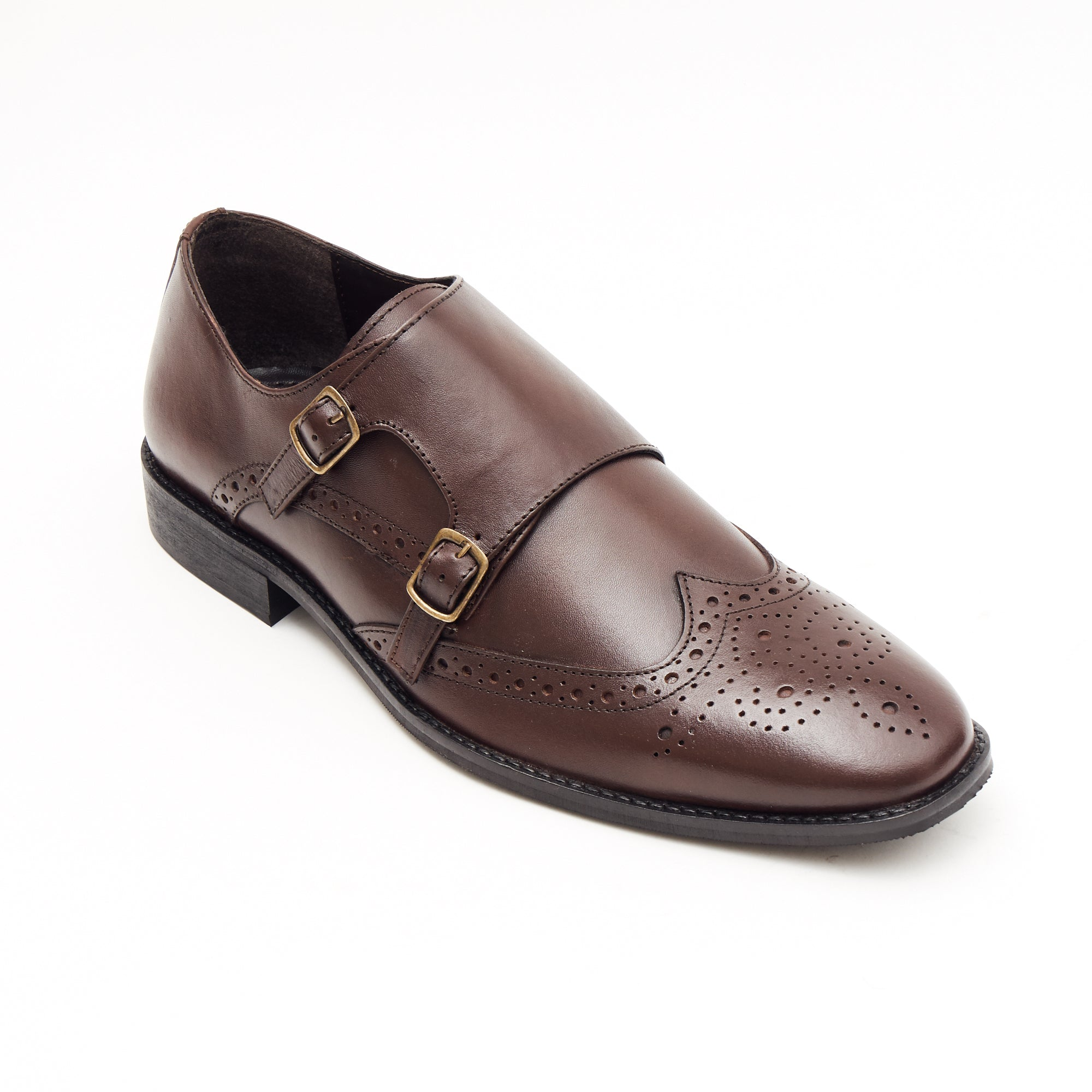 Mens Leather Double Monk Shoes 27701_Brown