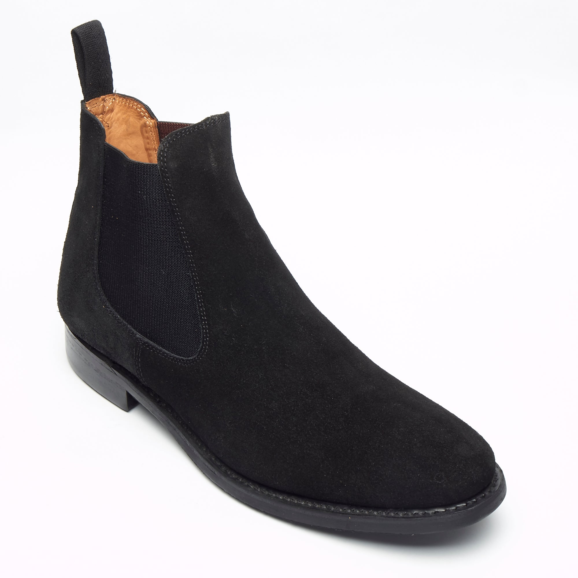 Mens Goodyear Welted Suede Chelsea Boots - 27817 Black