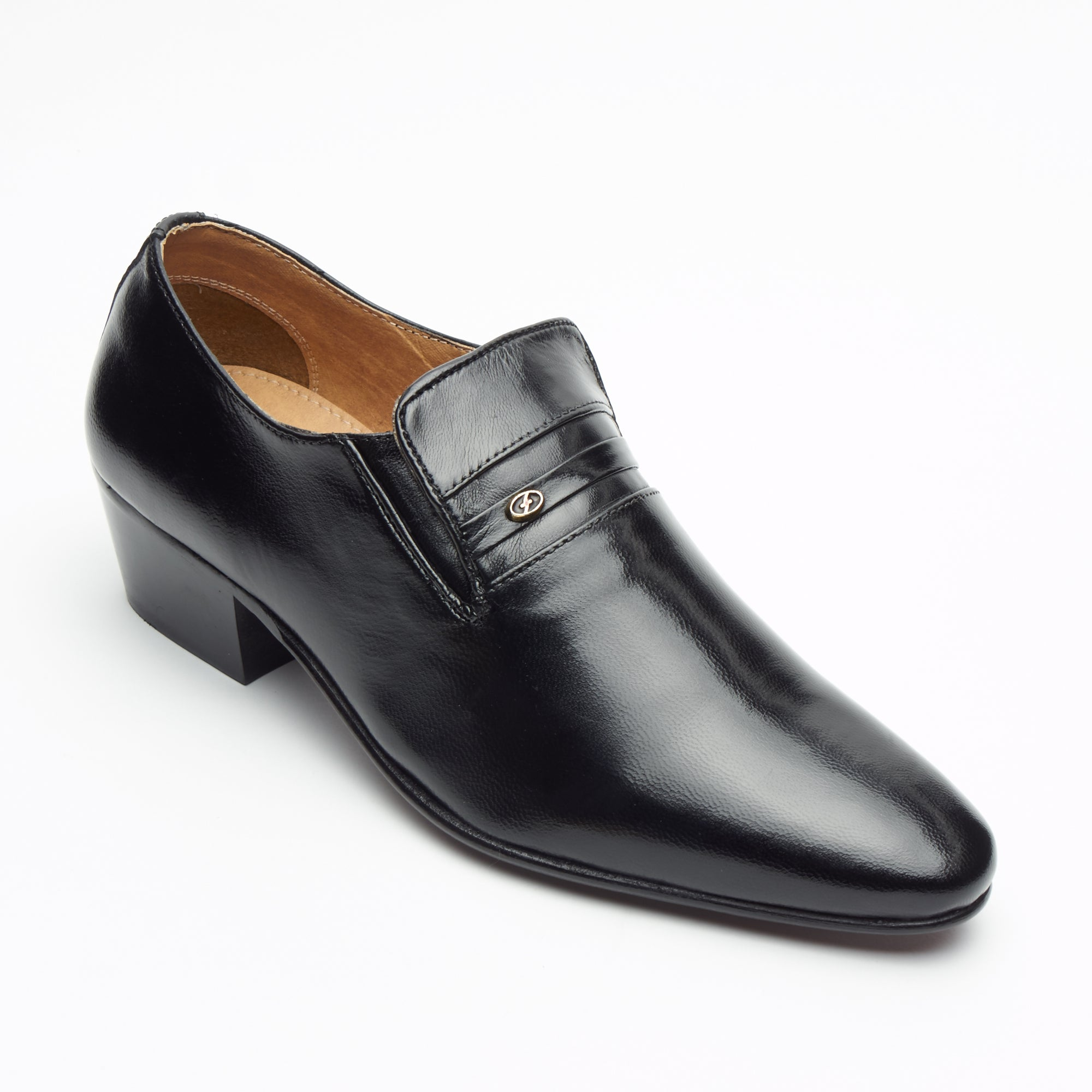 Mens Cuban Heel Leather Shoes - 29779 Black