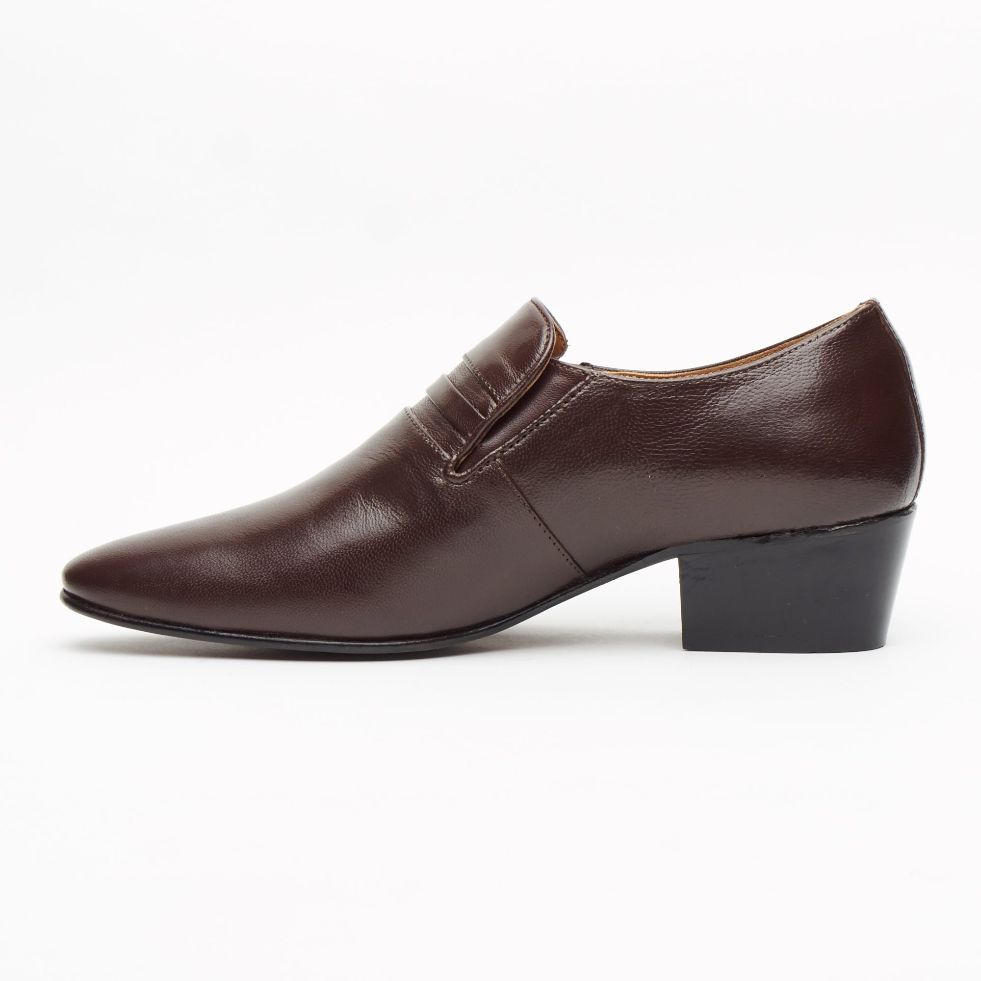 Mens Cuban Heel Leather Shoes - 29779 Brown