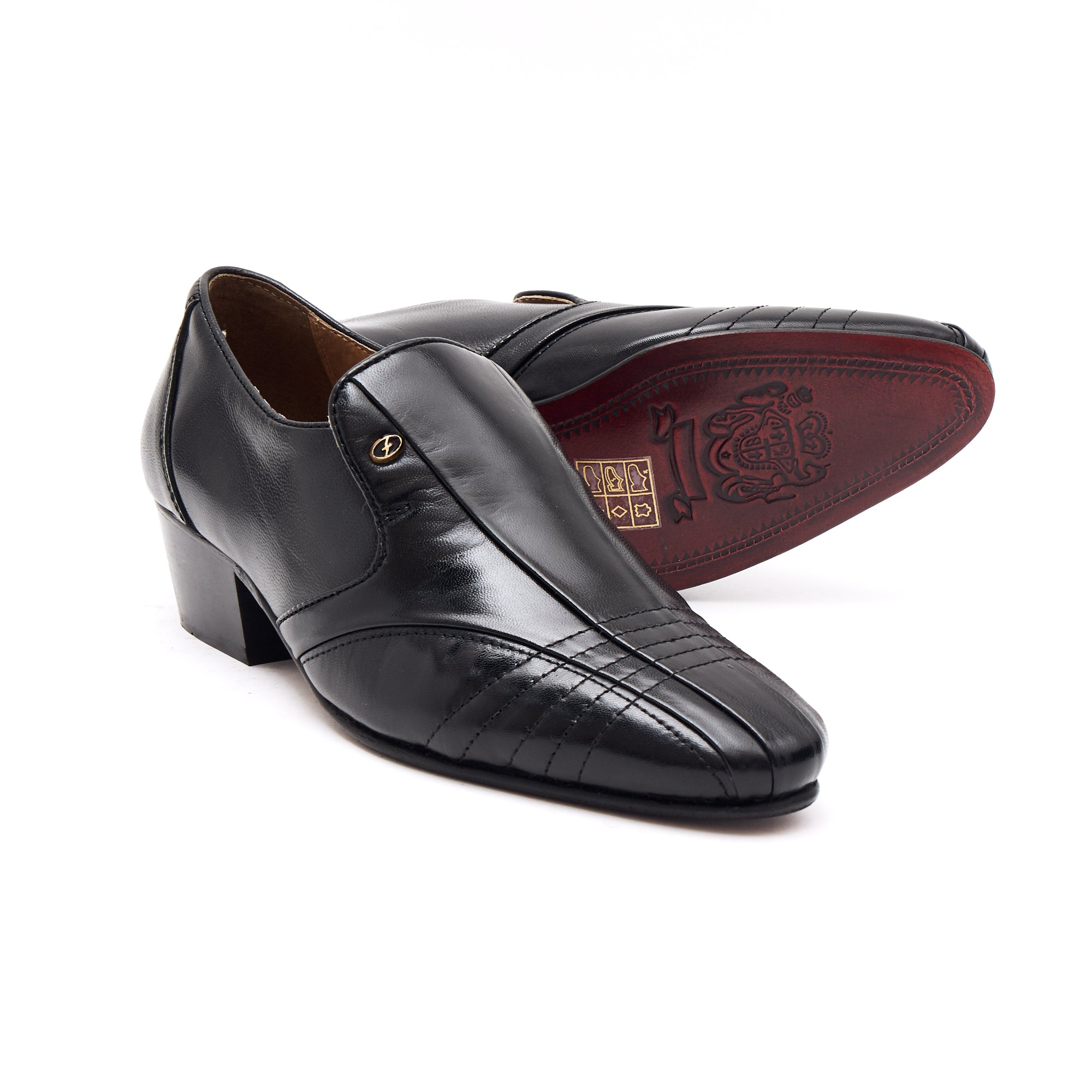 Mens Cuban Heel Leather Shoes- 33477 Black