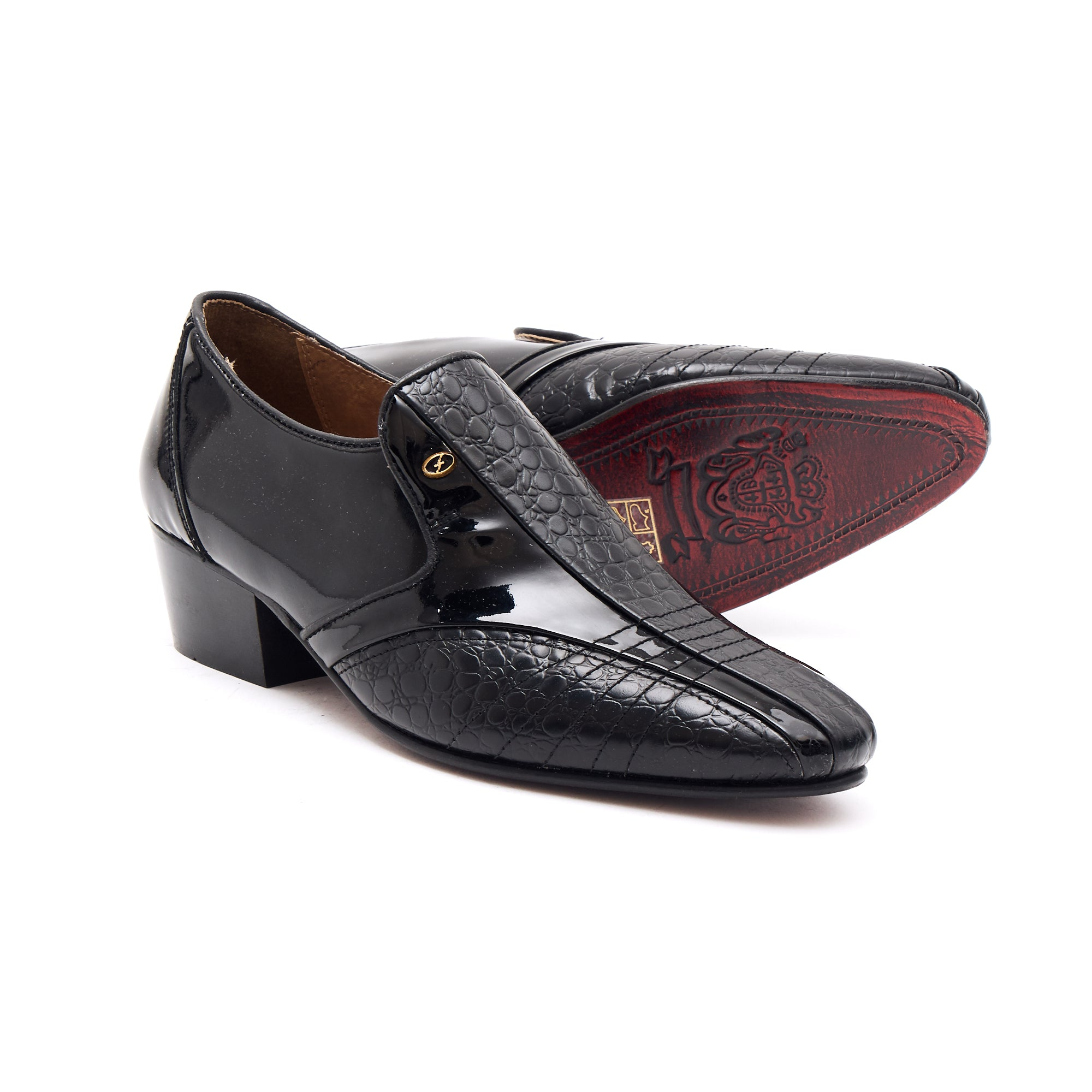 Mens Leather Cuban Heel Patent Shoes-33477 Black