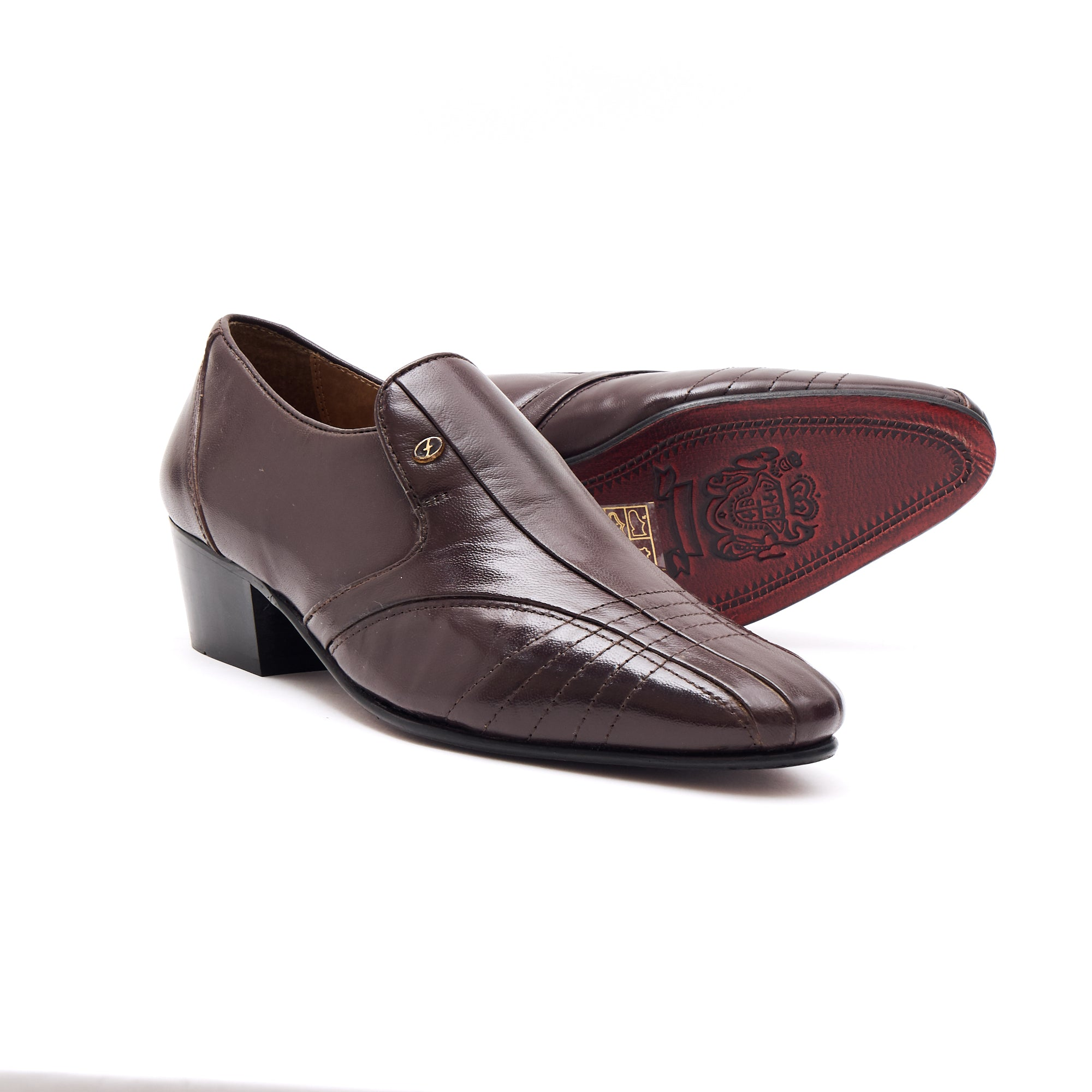 Mens Cuban Heel Leather Shoes- 33477 Brown