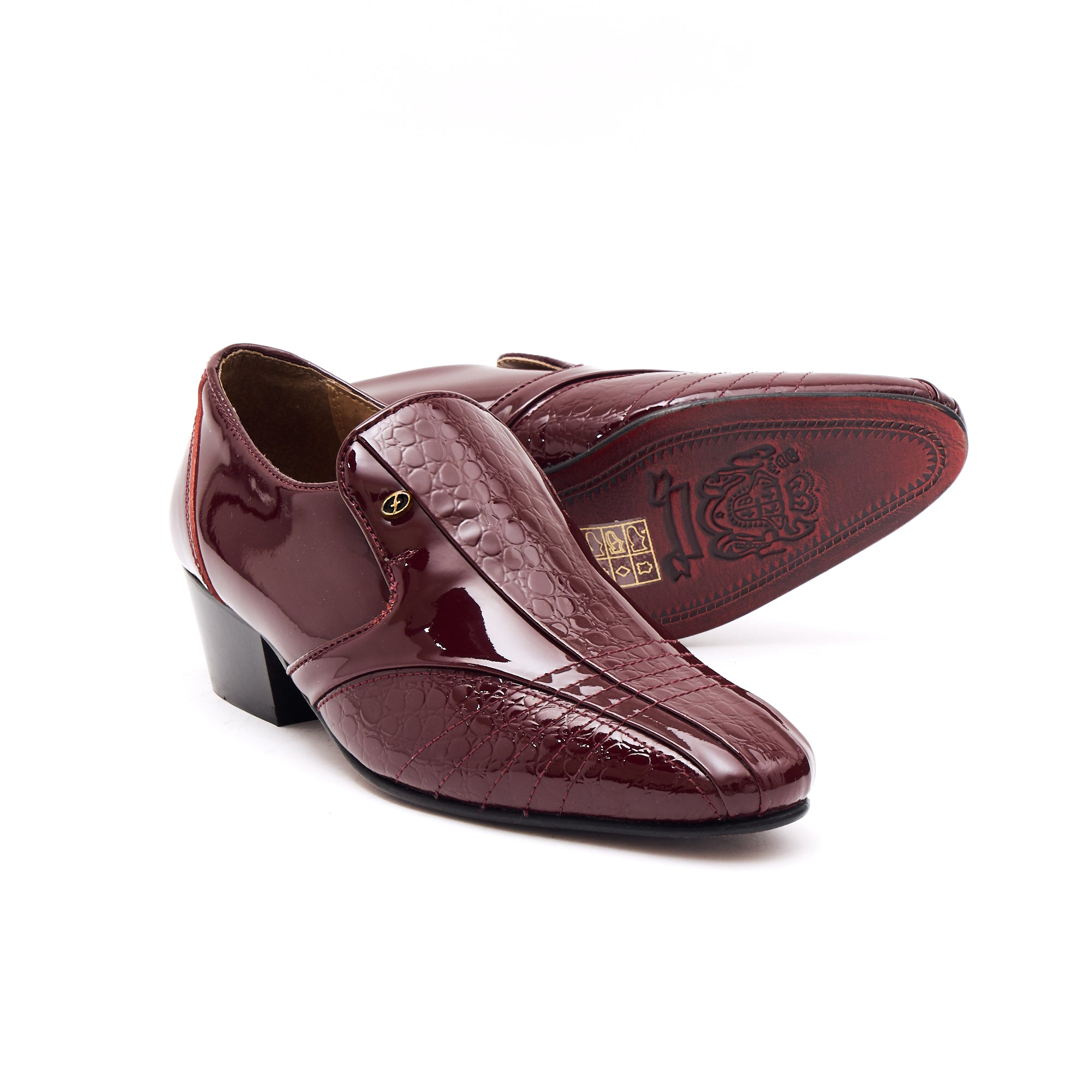 Mens Leather Cuban Heel Patent Shoes-33477 Burgundy