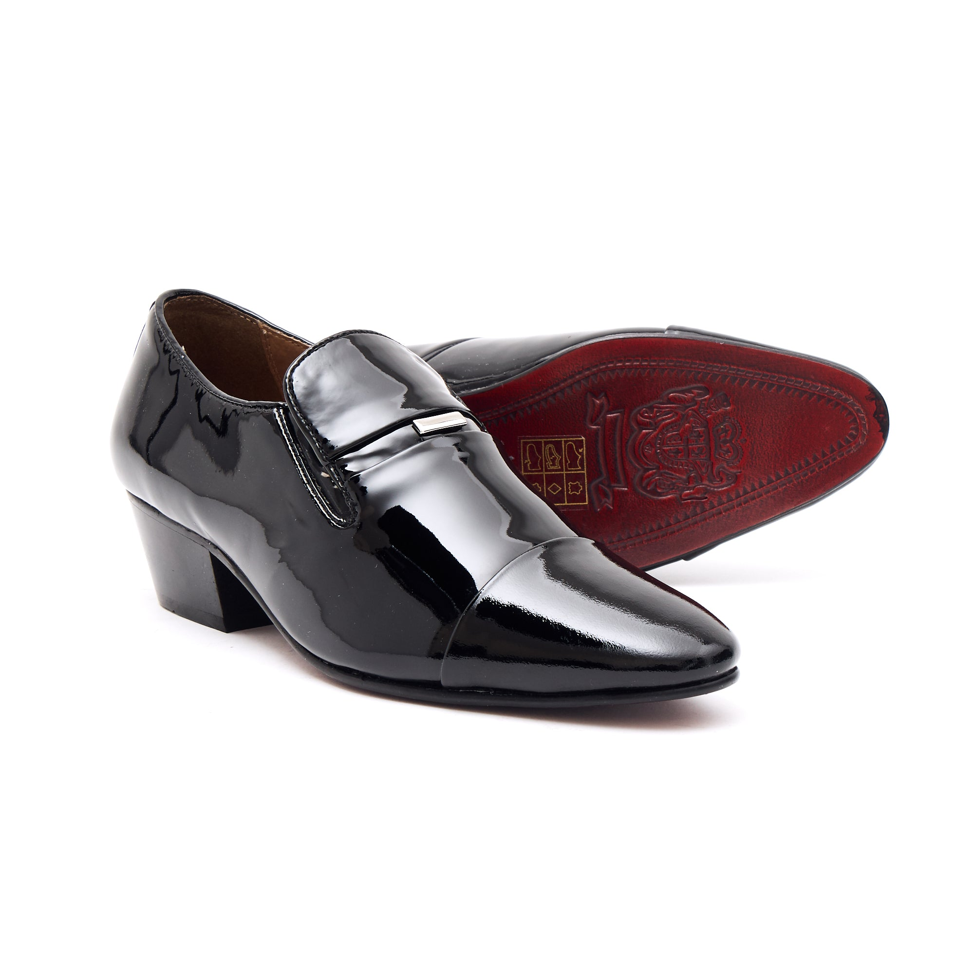 Mens Leather Cuban Heel Patent Shoes - 33478 Black