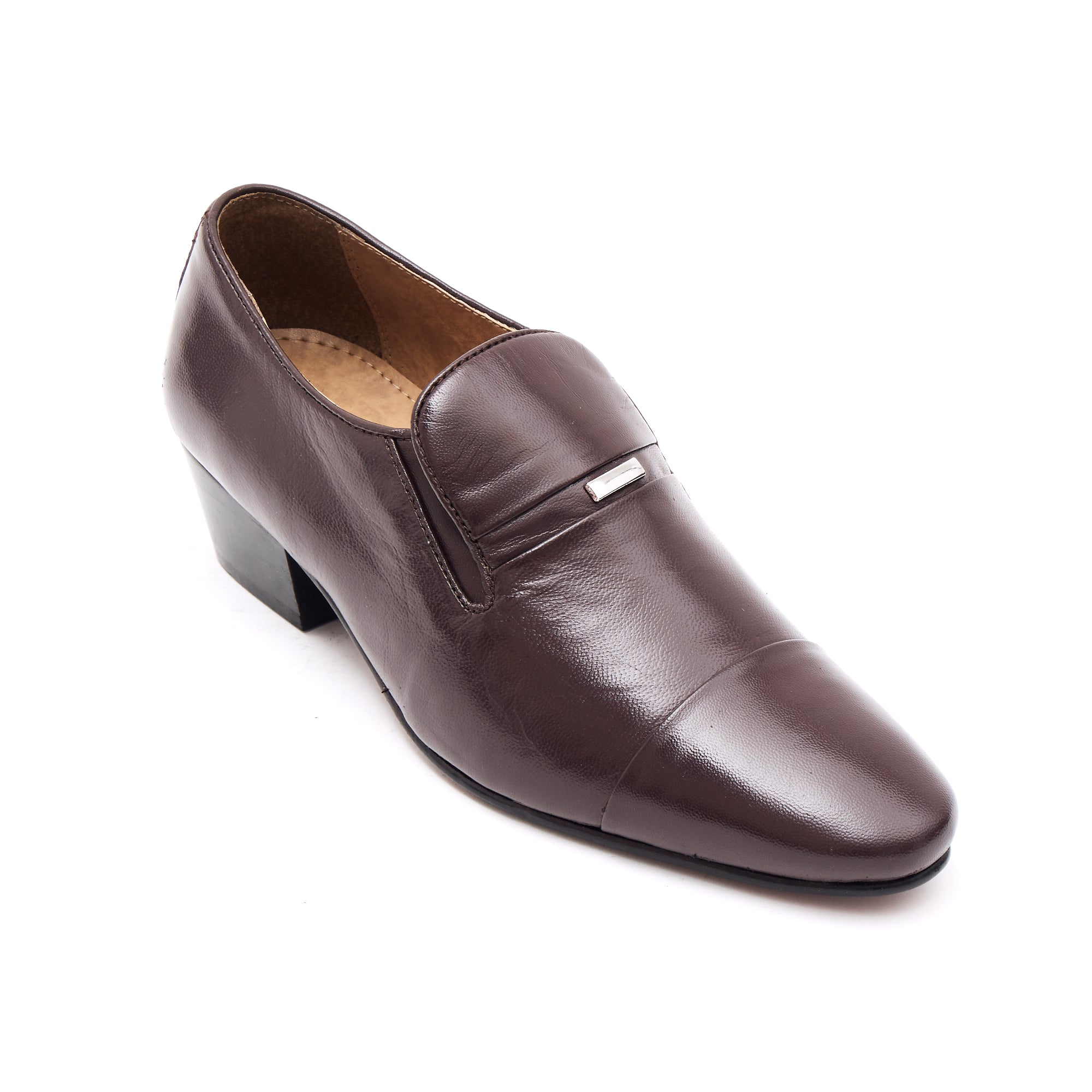 Mens Cuban Heel Leather Shoes - 33478 Brown
