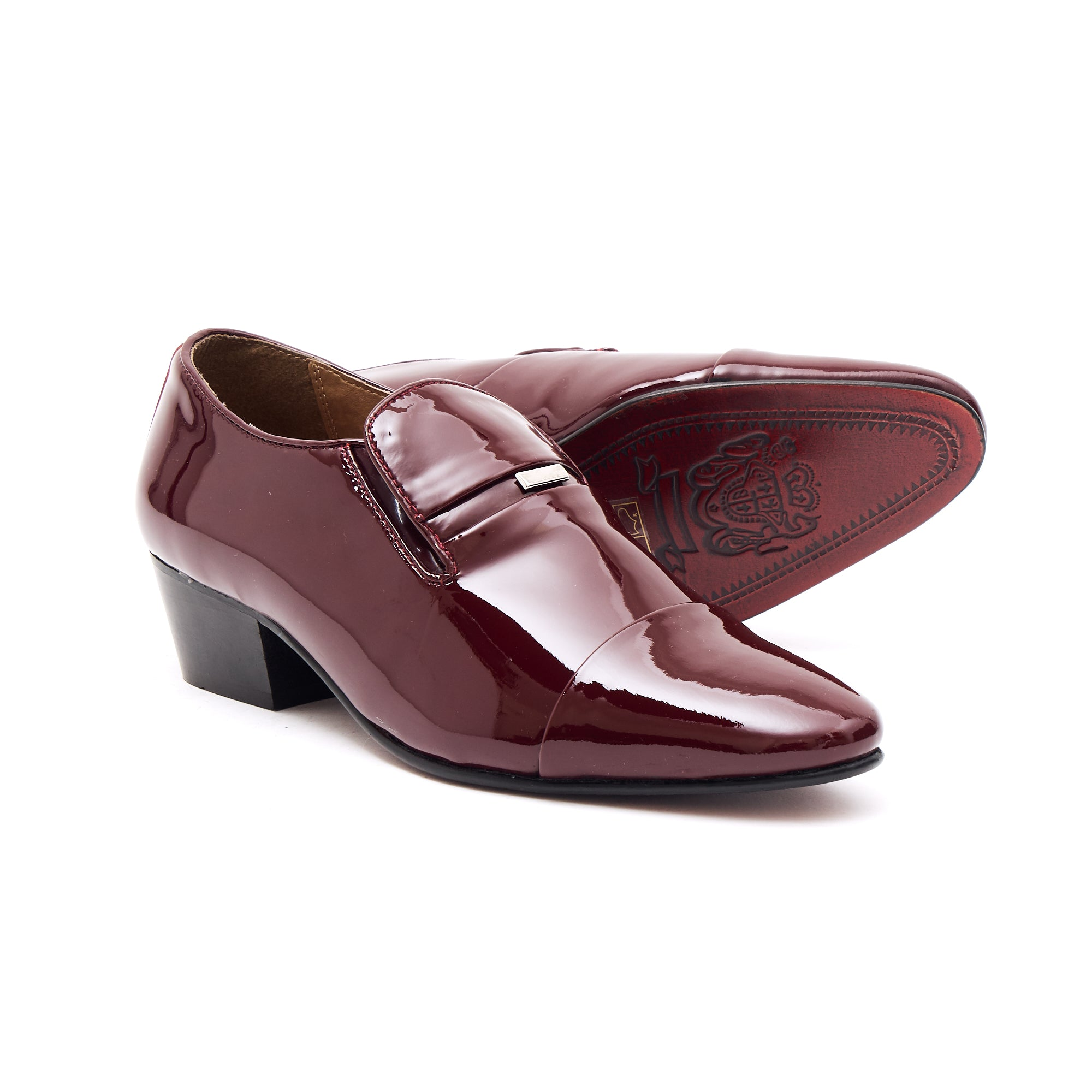 Mens Leather Cuban Heel Patent Shoes - 33478 Burgundy