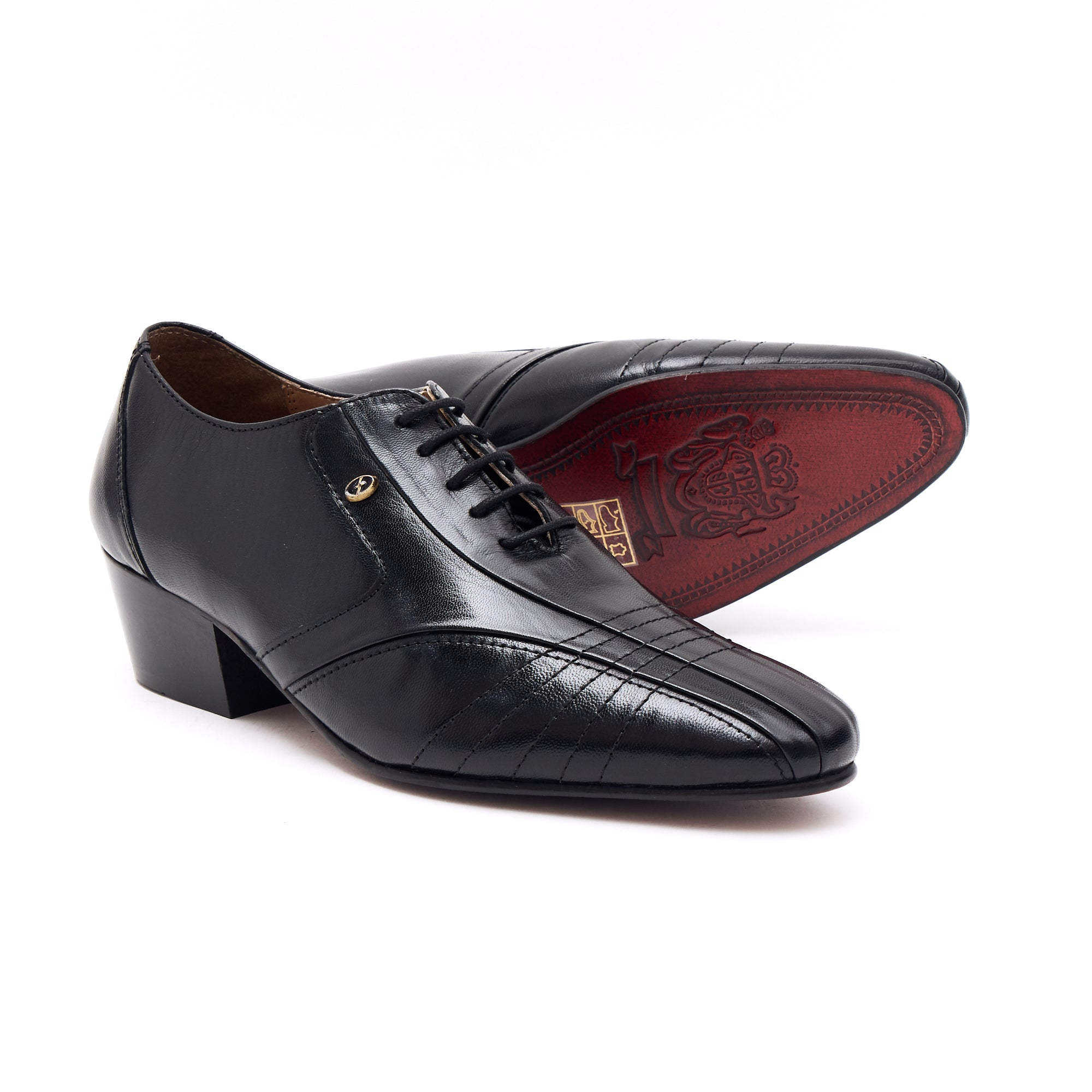 Mens Cuban Heel Leather Shoes- 33483 Black