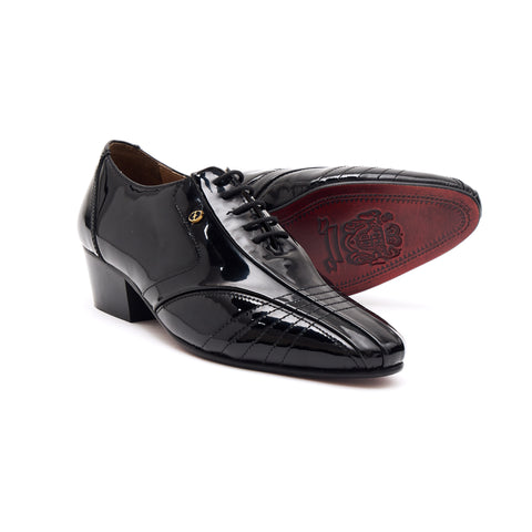 Mens Leather Cuban Heel Patent Shoes - 33483 Black