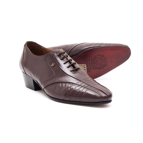Mens Cuban Heel Leather Shoes- 33483 Brown