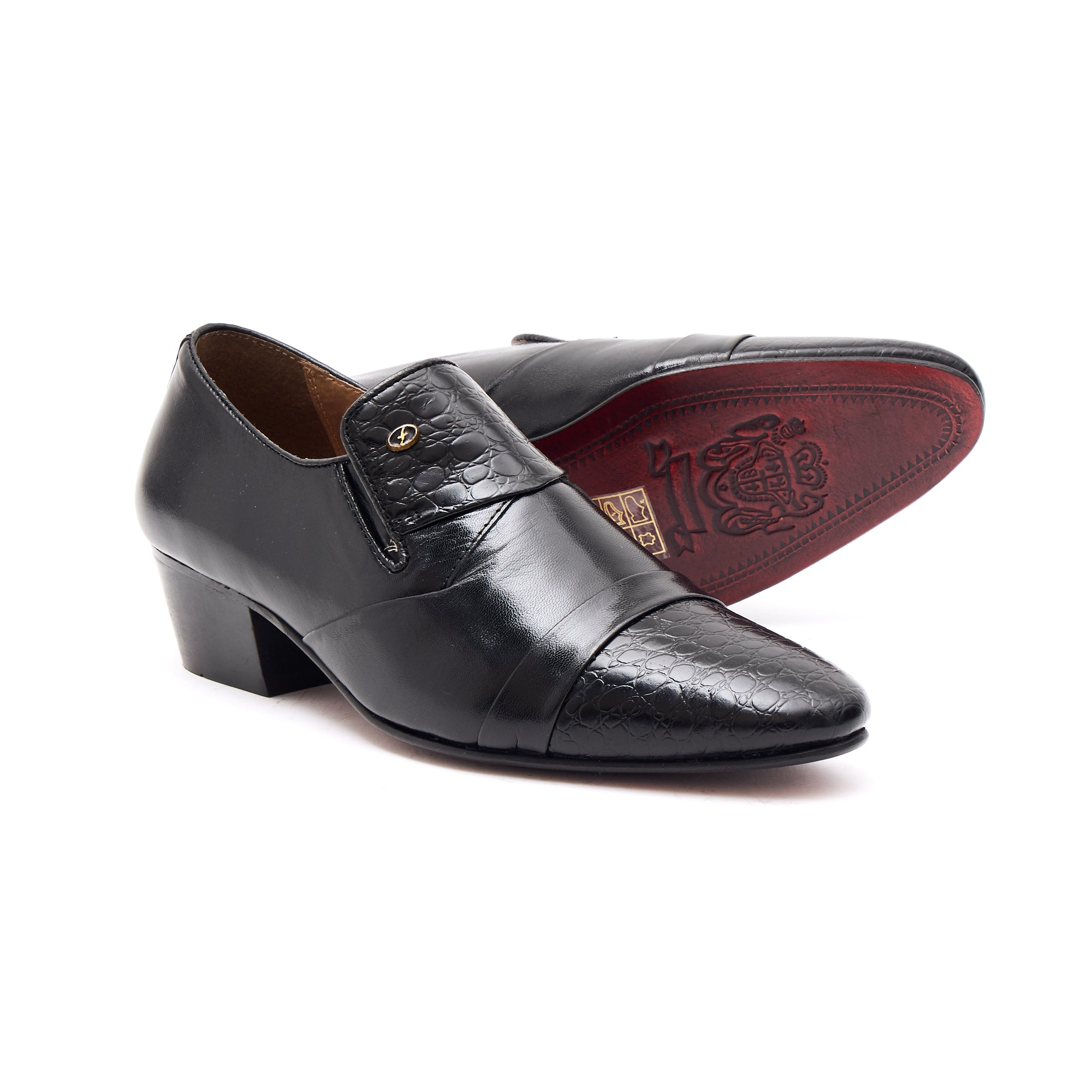 Mens Cuban Heel Leather Shoes- 34005 Black