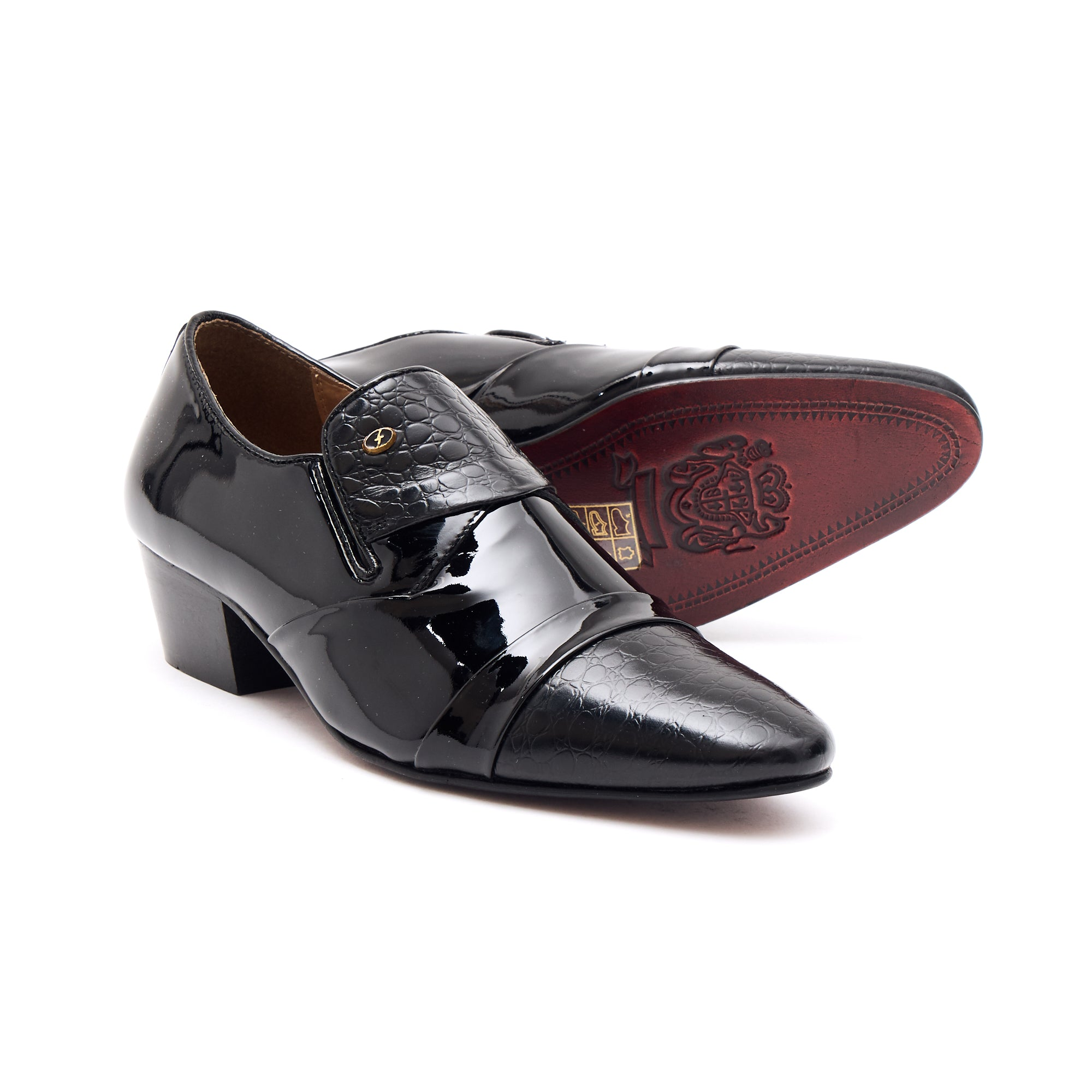 Mens Leather Cuban Heel Patent Shoes - 34005 Black