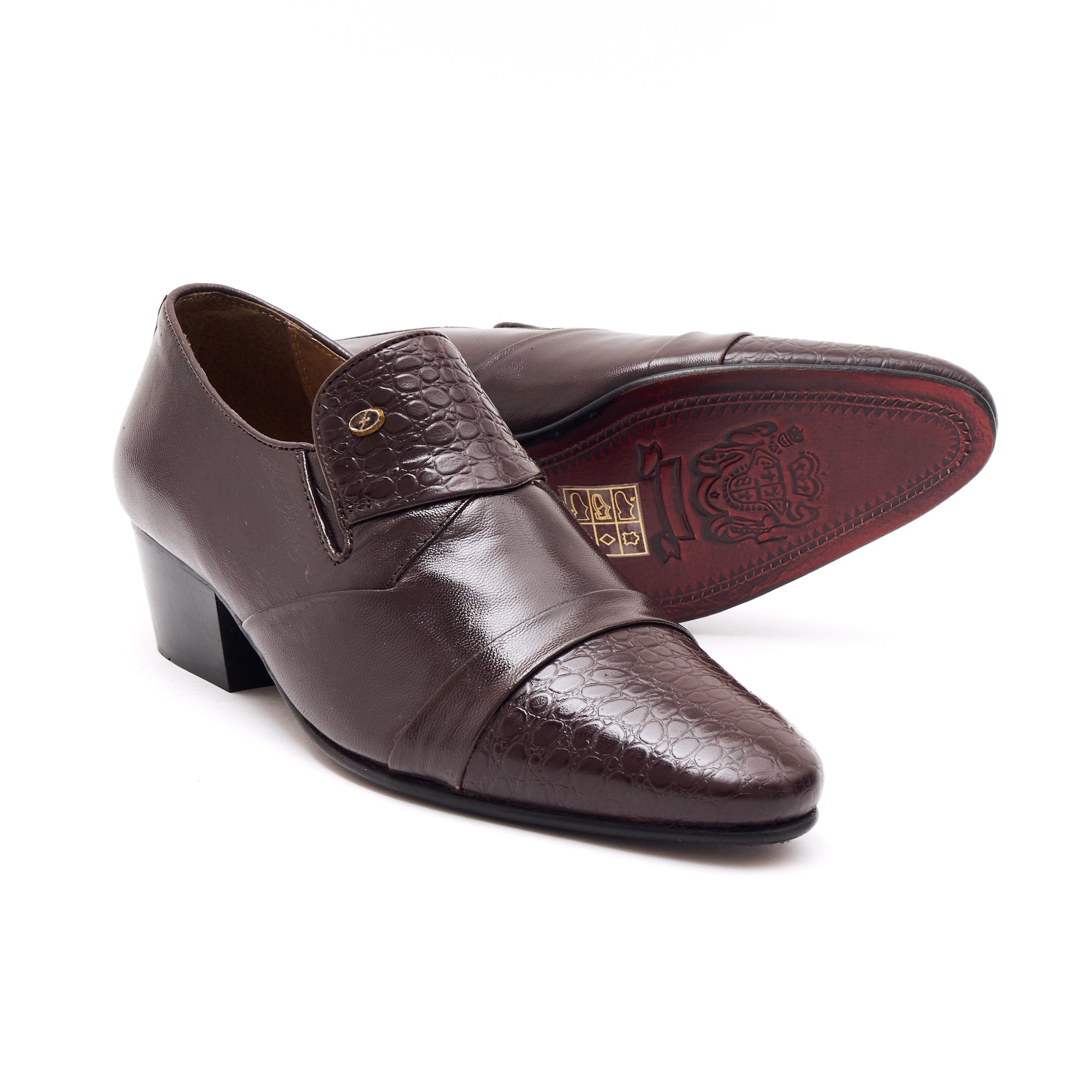 Mens Cuban Heel Leather Shoes- 34005 Brown