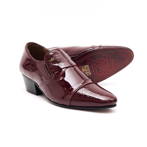 Mens Leather Cuban Heel Patent Shoes - 34005 Burgundy