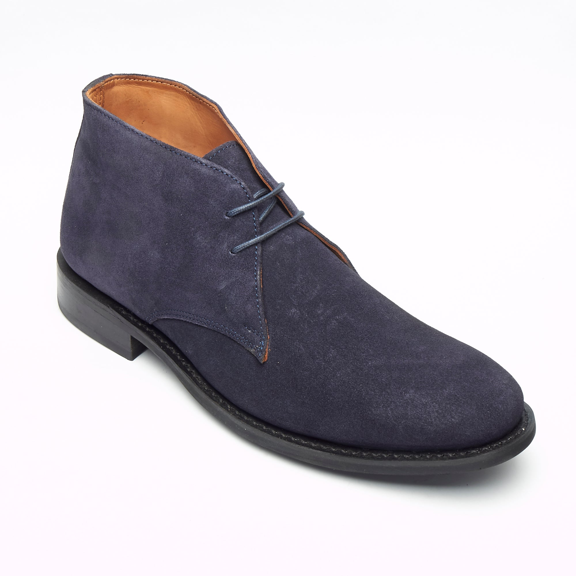 Mens Goodyear Welted Suede Lace Up Ankle Boots - 35515 Navy Blue