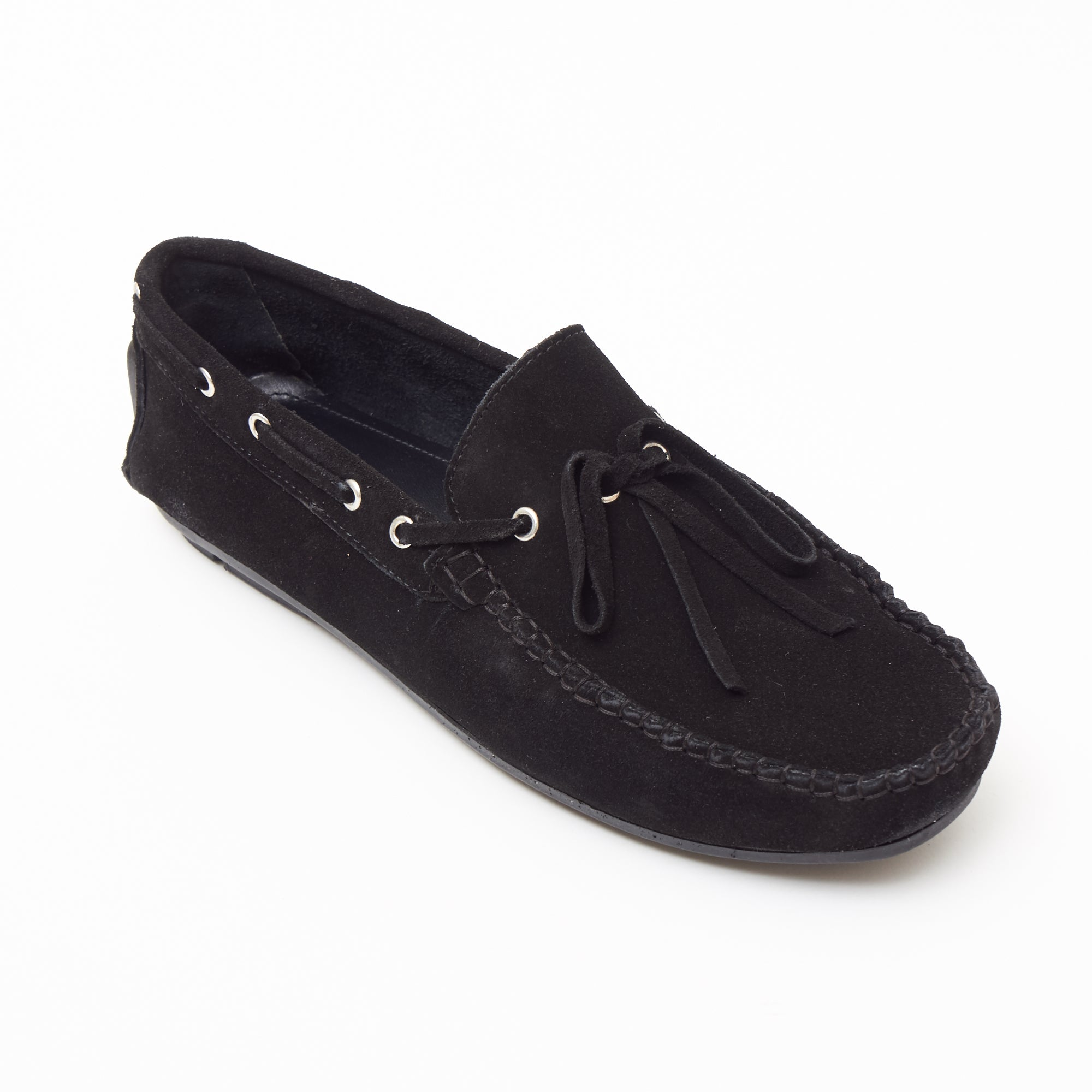 Mens Suede Casual Slip On Shoes - 4611-L_Black