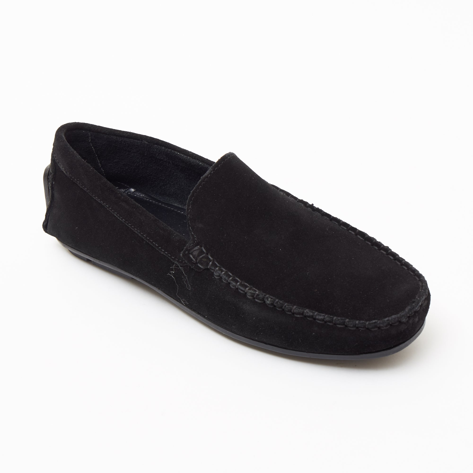 Mens Suede Casual Slip On Shoes - 4611-P_Black