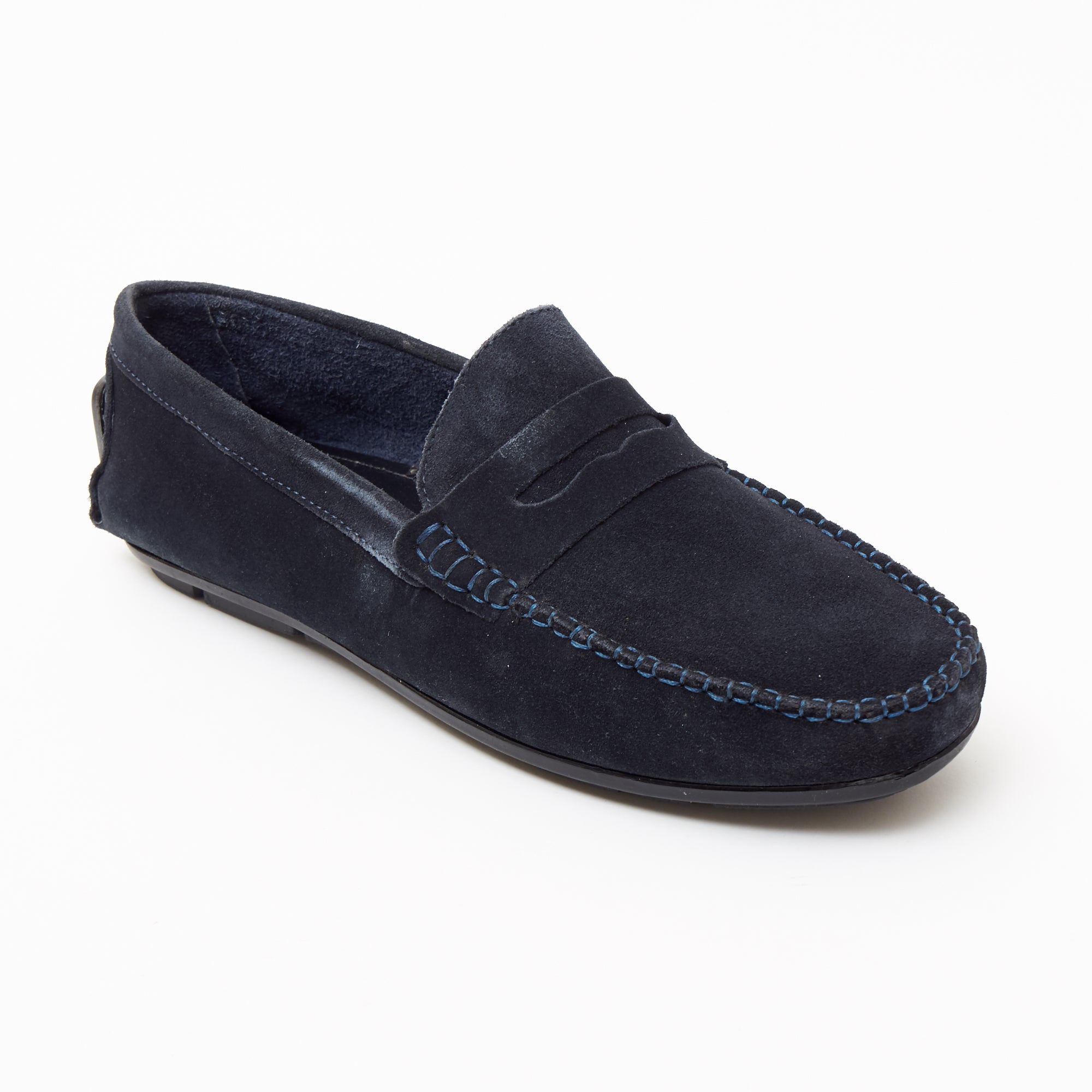Mens Suede Casual Slip On Shoes - 4611-S_Navyblue