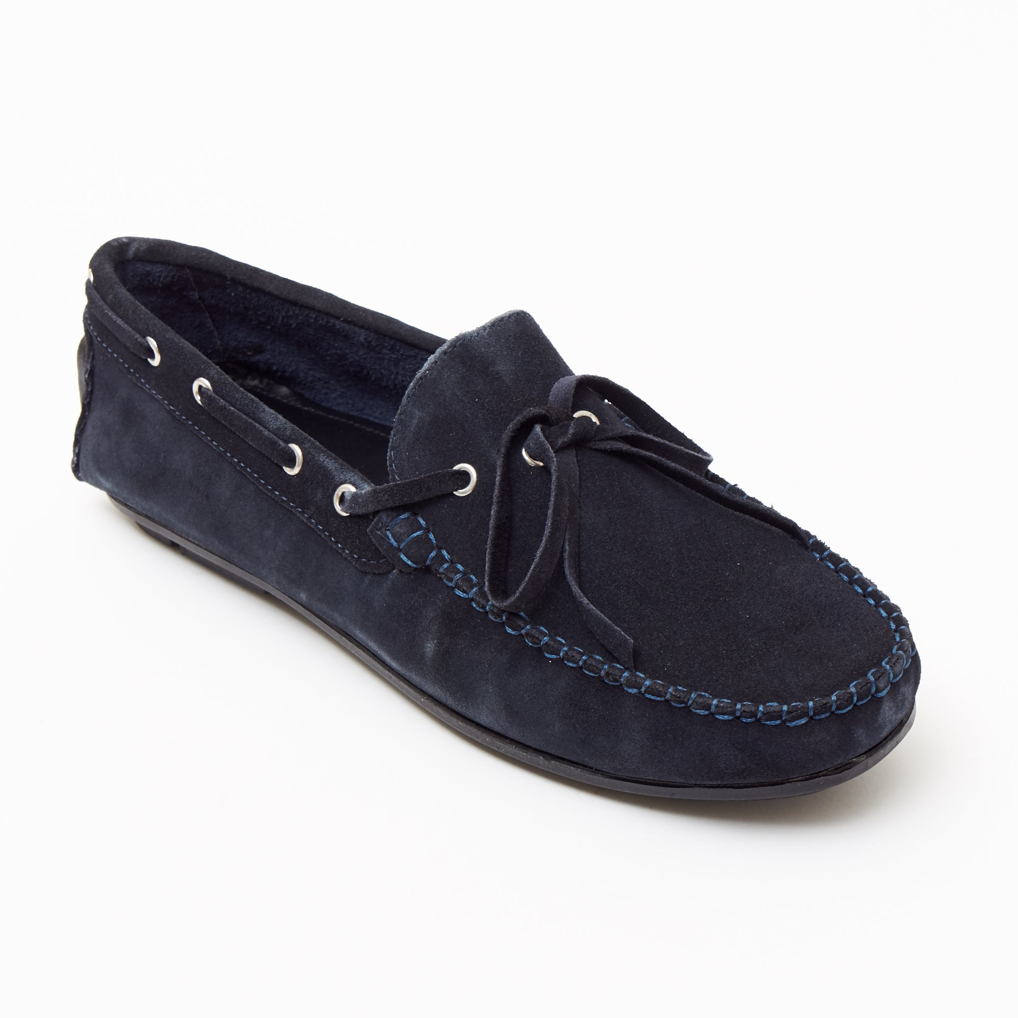 Mens Suede Casual Slip On Shoes - 4611-L_Navyblue