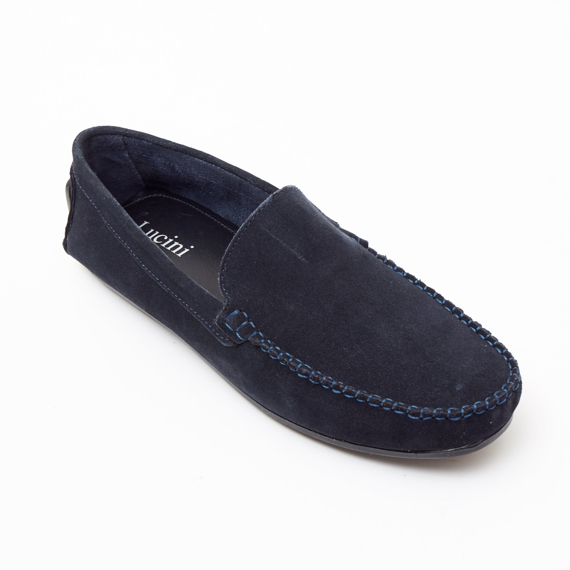 Mens Suede Casual Slip On Shoes - 4611-P_Navyblue