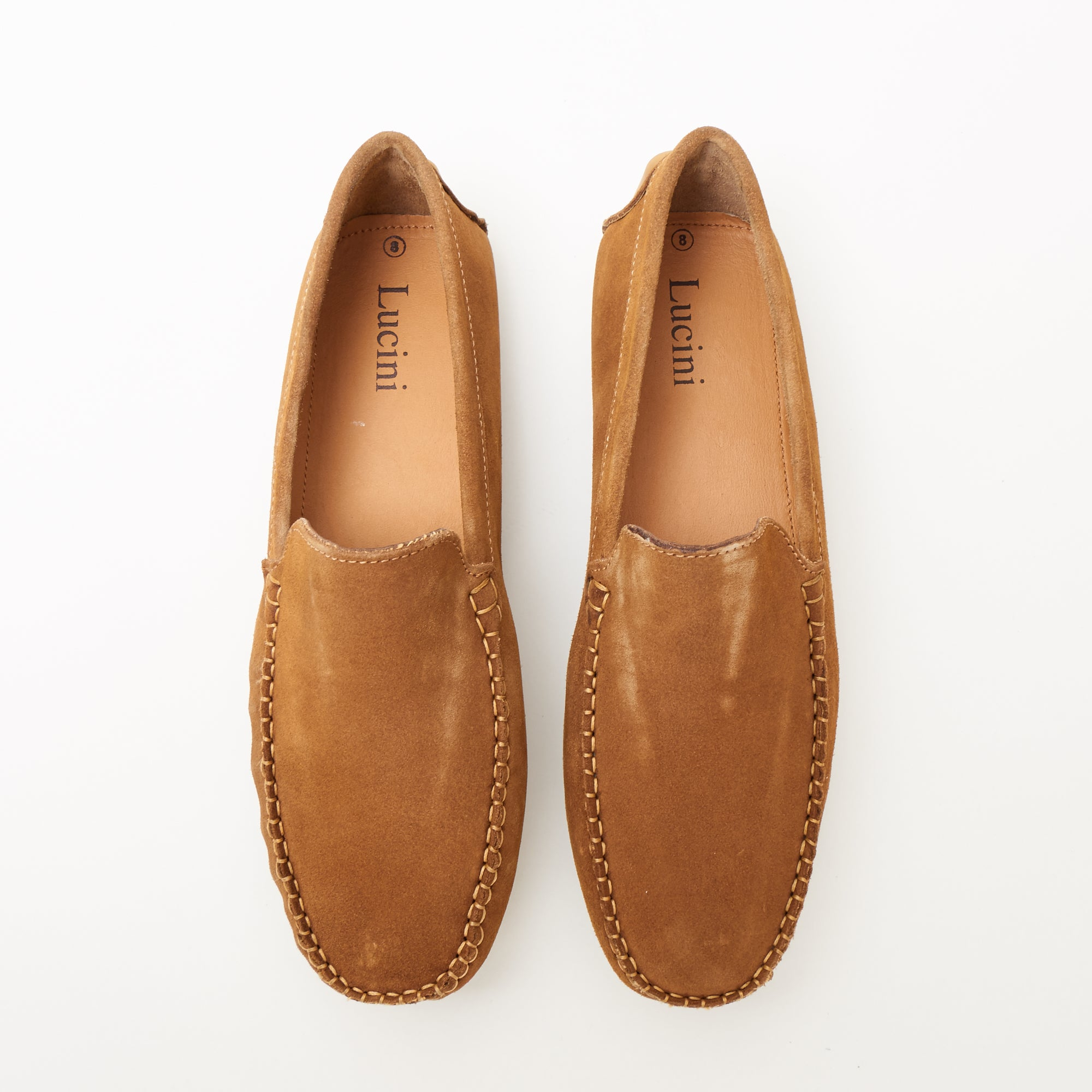 Mens Suede Casual Slip On Shoes - 4611-P_Tan