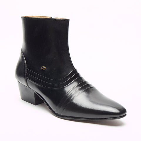 Mens Cuban Heel Leather Boots - 6006 Black