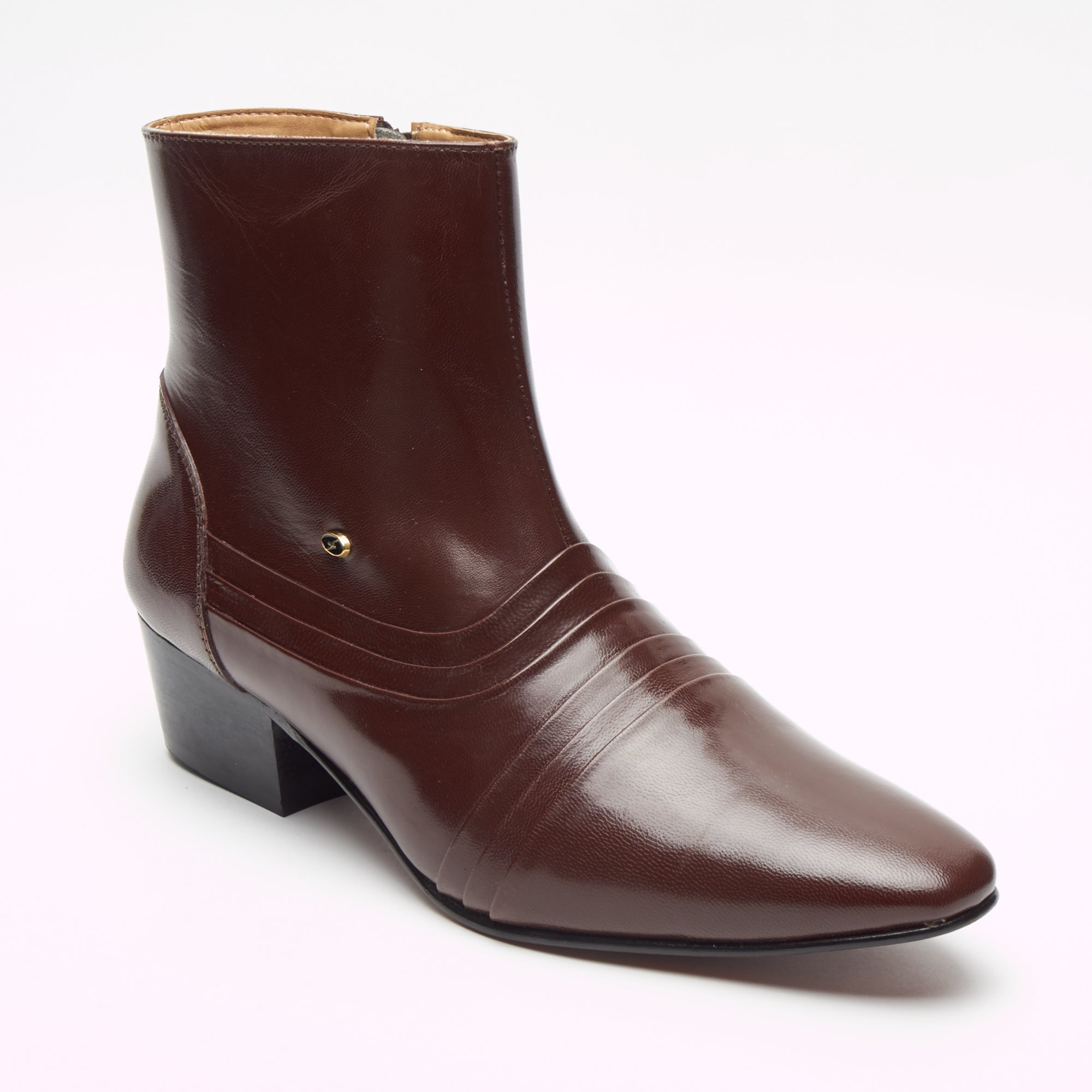 Mens Cuban Heel Leather Boots - 6006 Brown