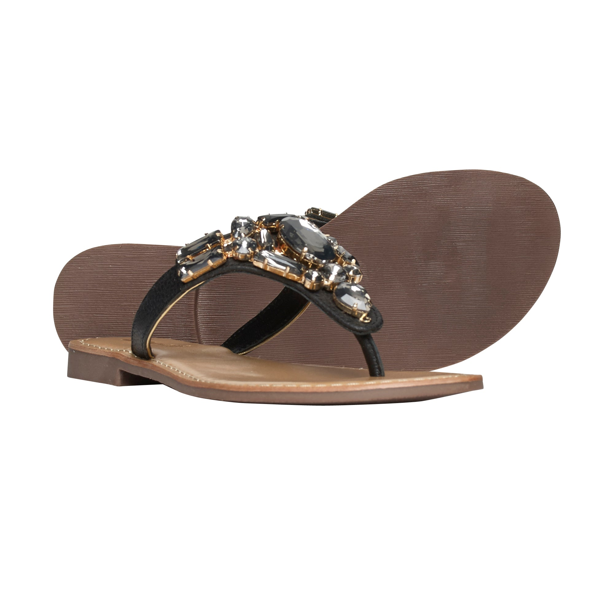 Ladies Flat Sandals IF-5383 Black_Grey