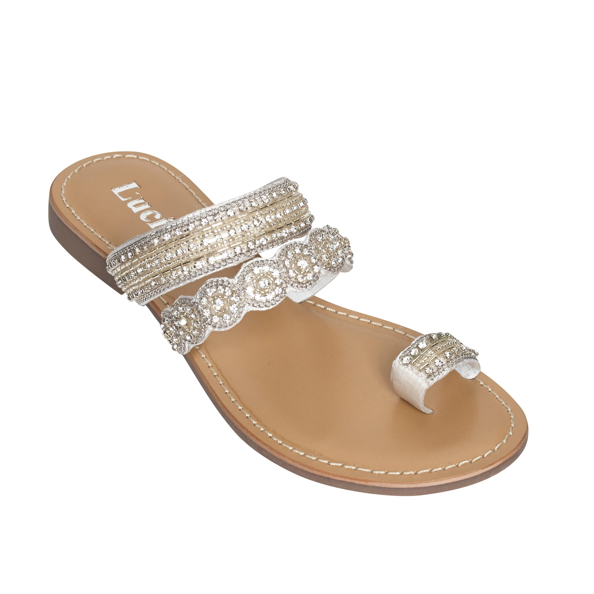 Ladies Flat Sandals IF-5329 Silver