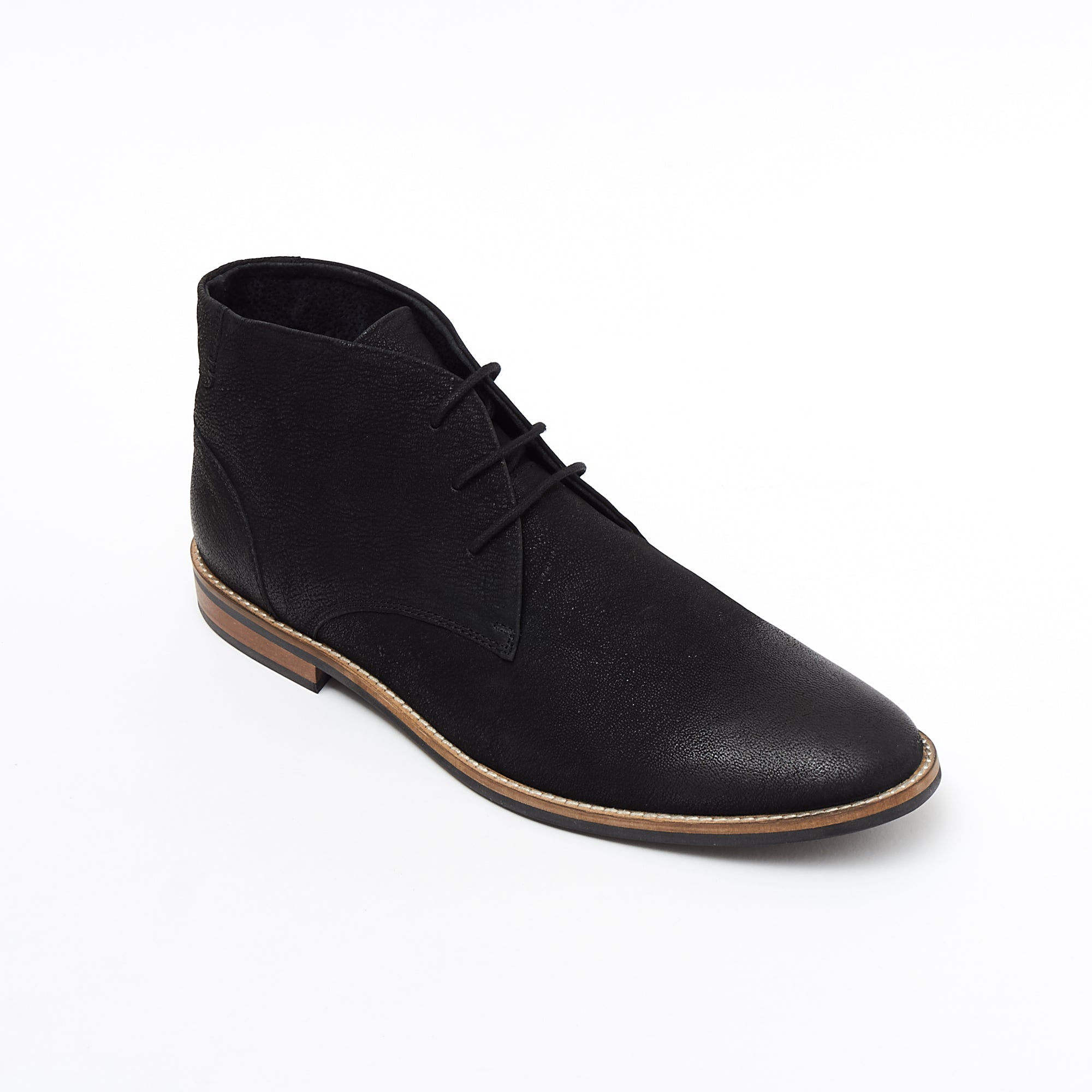 Mens Nubuck  Ankle Boots - 30371 Black