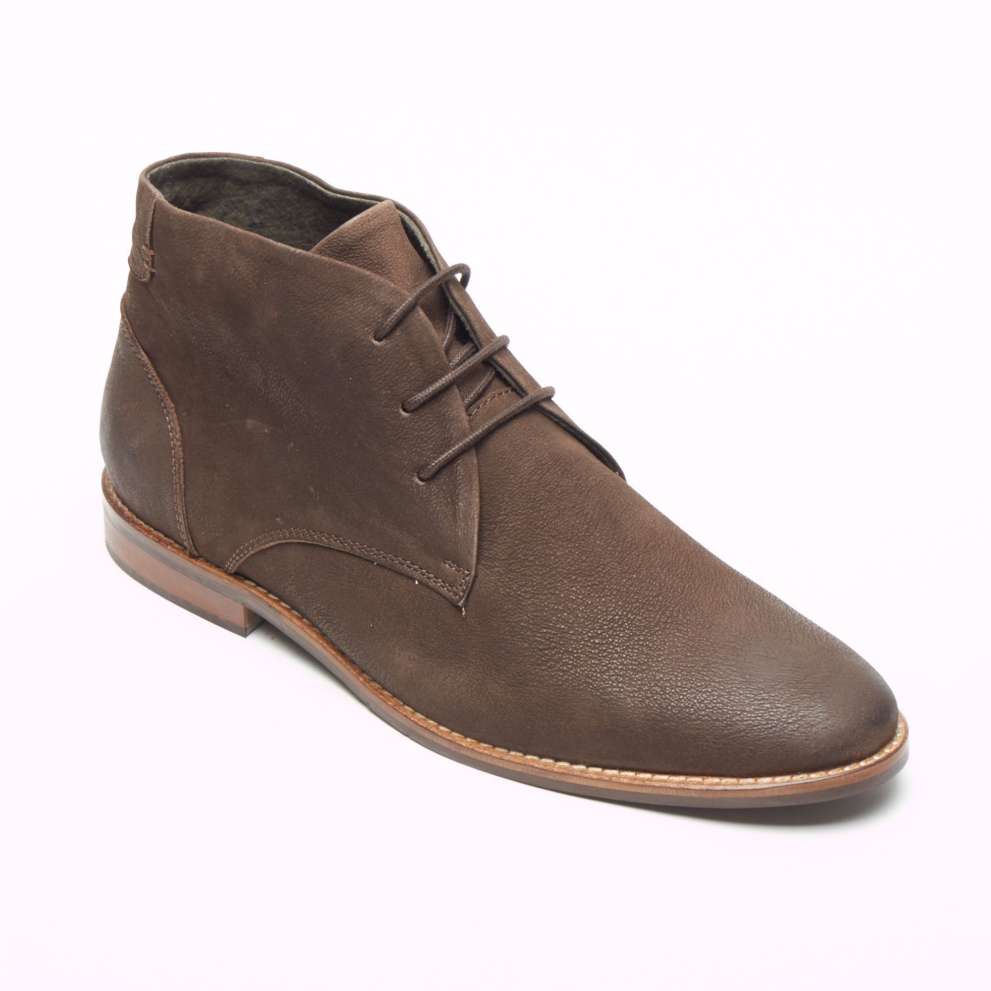 Mens Nubuck  Ankle Boots - 30371 Brown