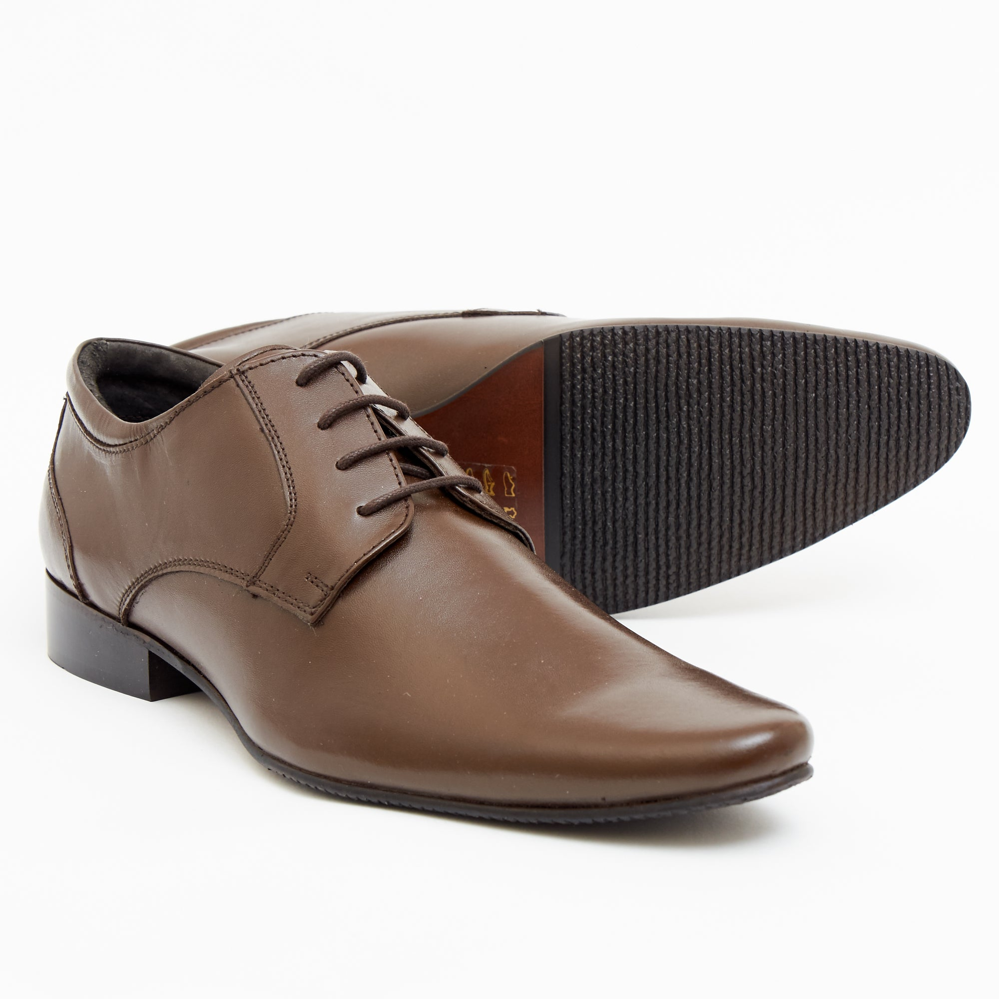 Mens Leather Formal Casual Shoes-50545_Brown