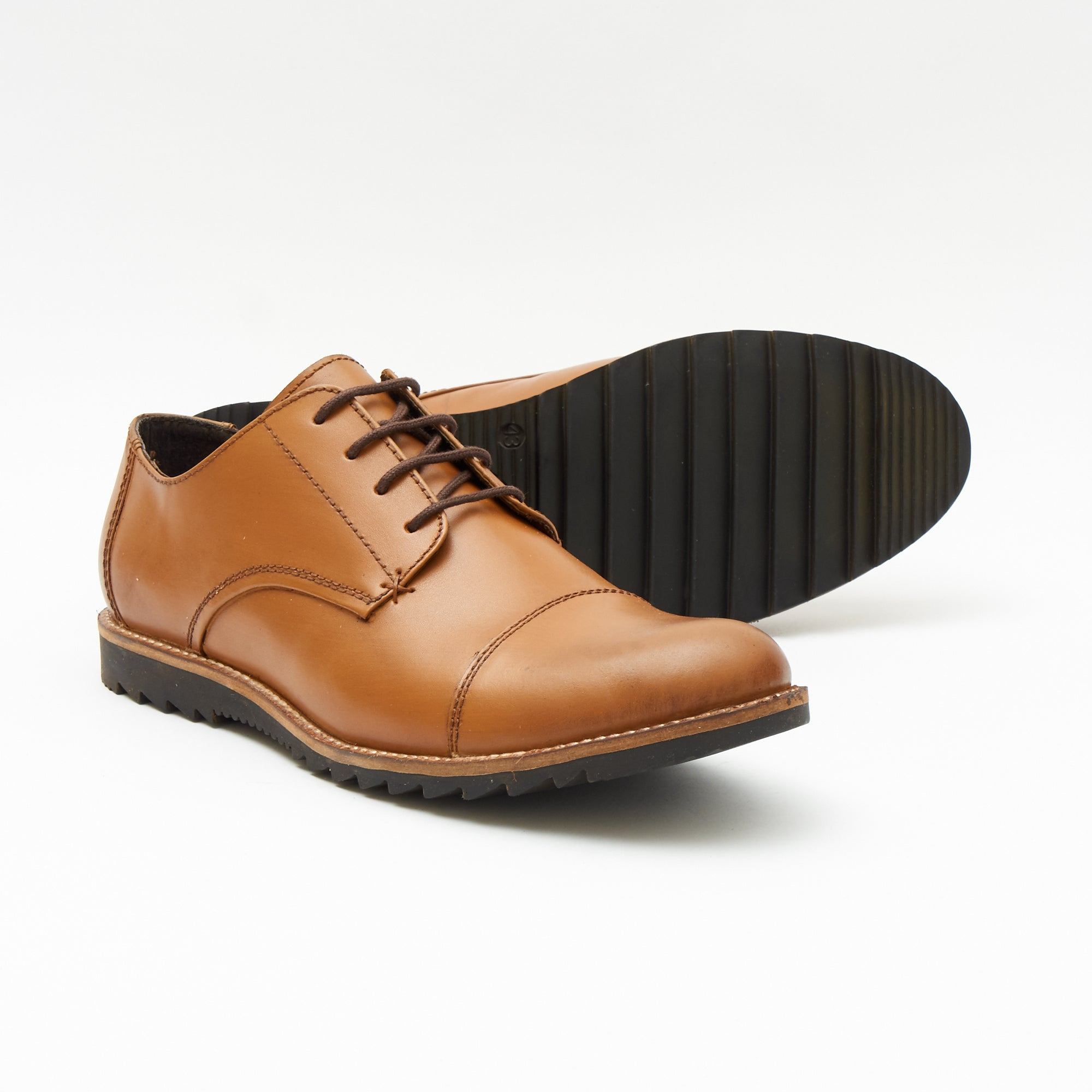 Mens Leather Formal Oxford Shoes- 50631_Tan