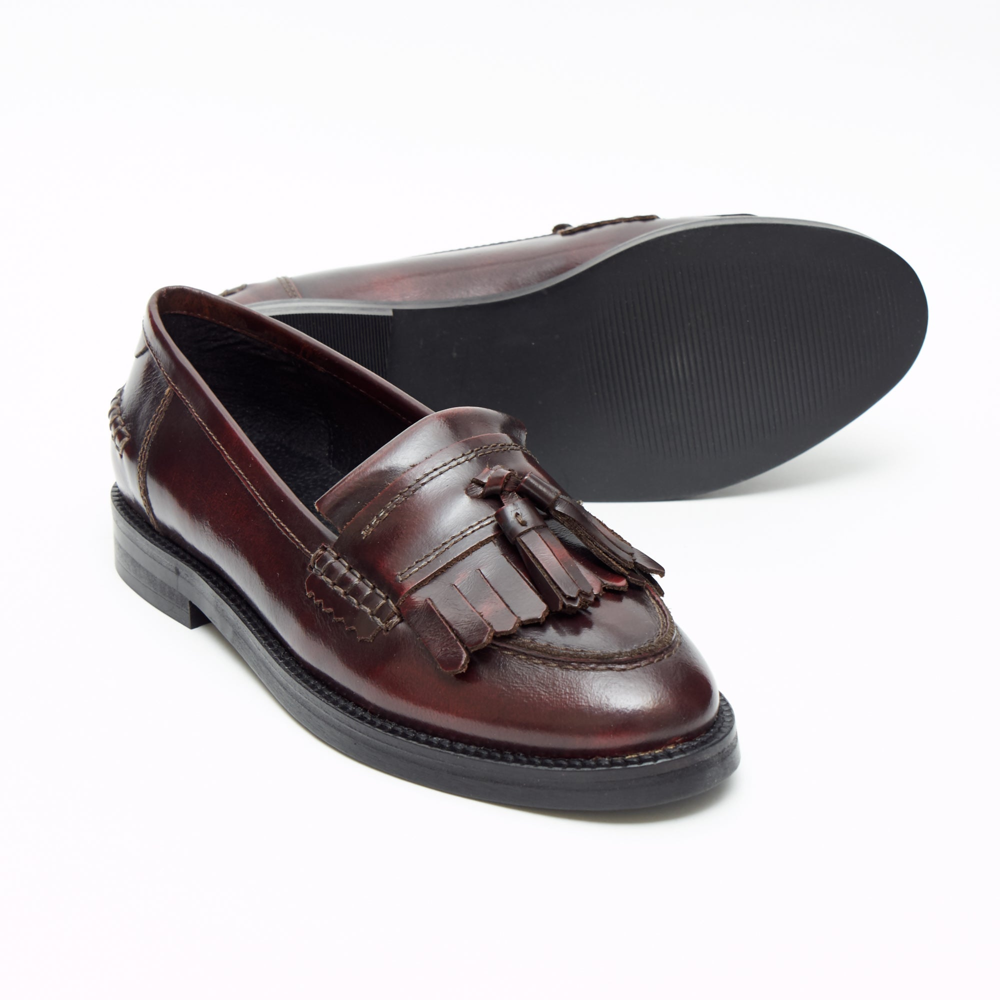 Ladies Flat Heel Loafer Shoes - R0830-1_Oxblood