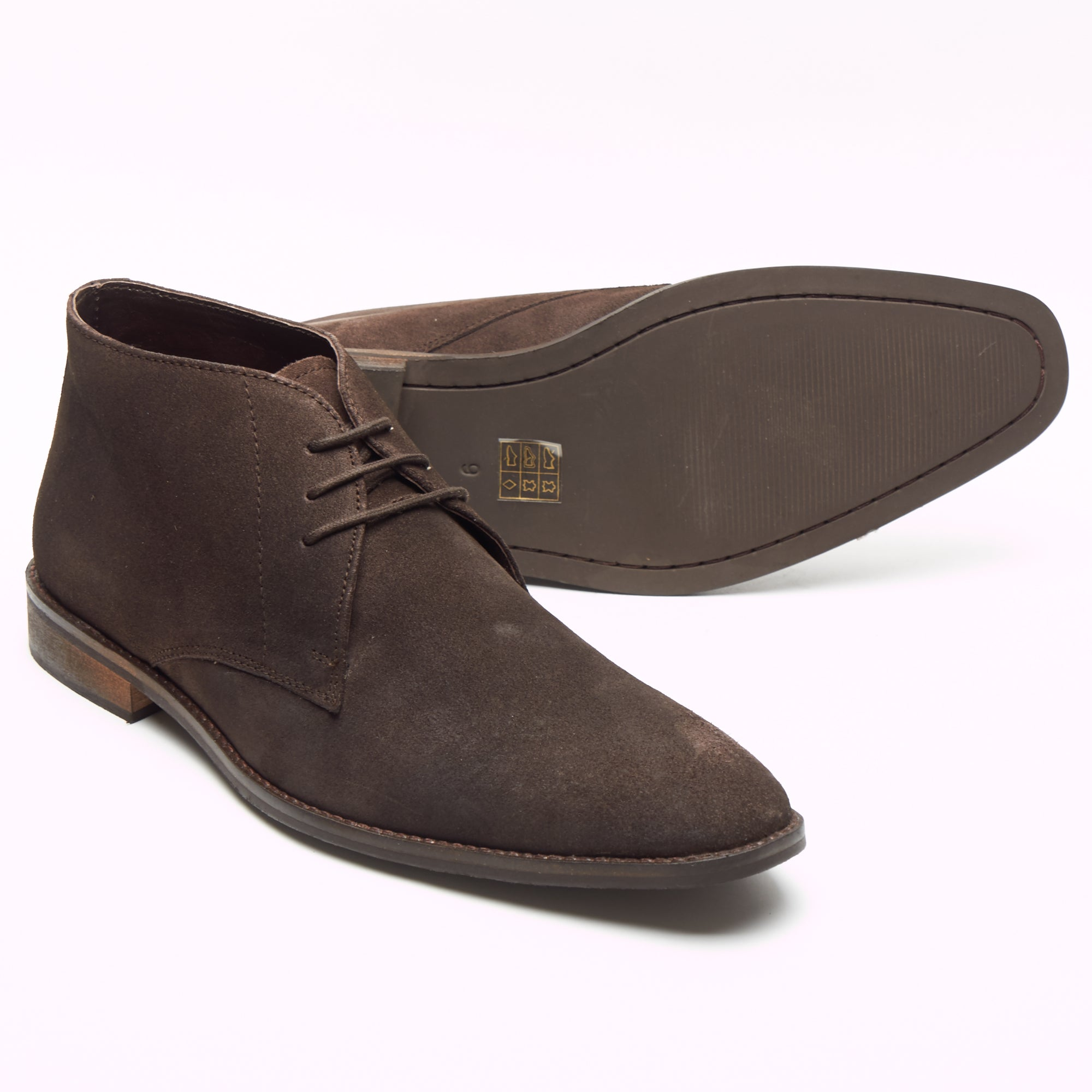 Mens Suede Ankle Boots - SF-251-Suede Brown