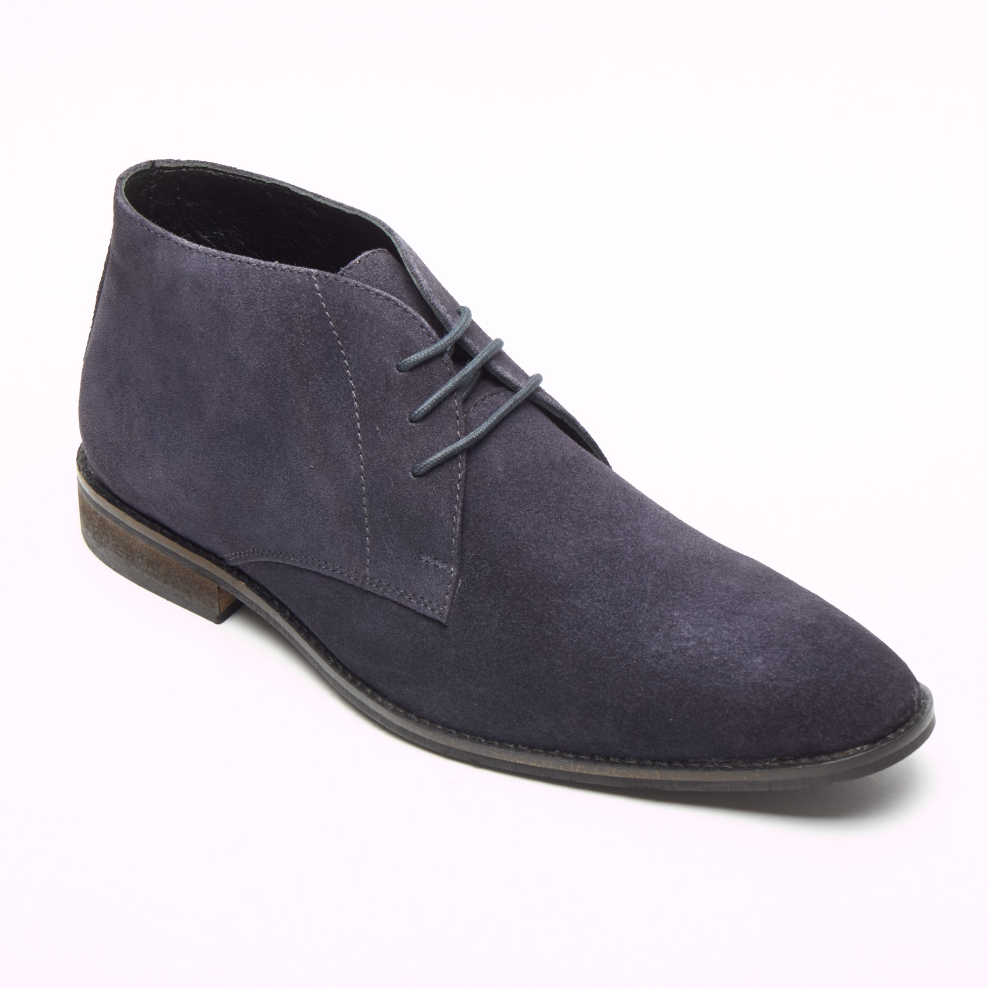Mens Suede Ankle Boots - SF-251-Suede Navy