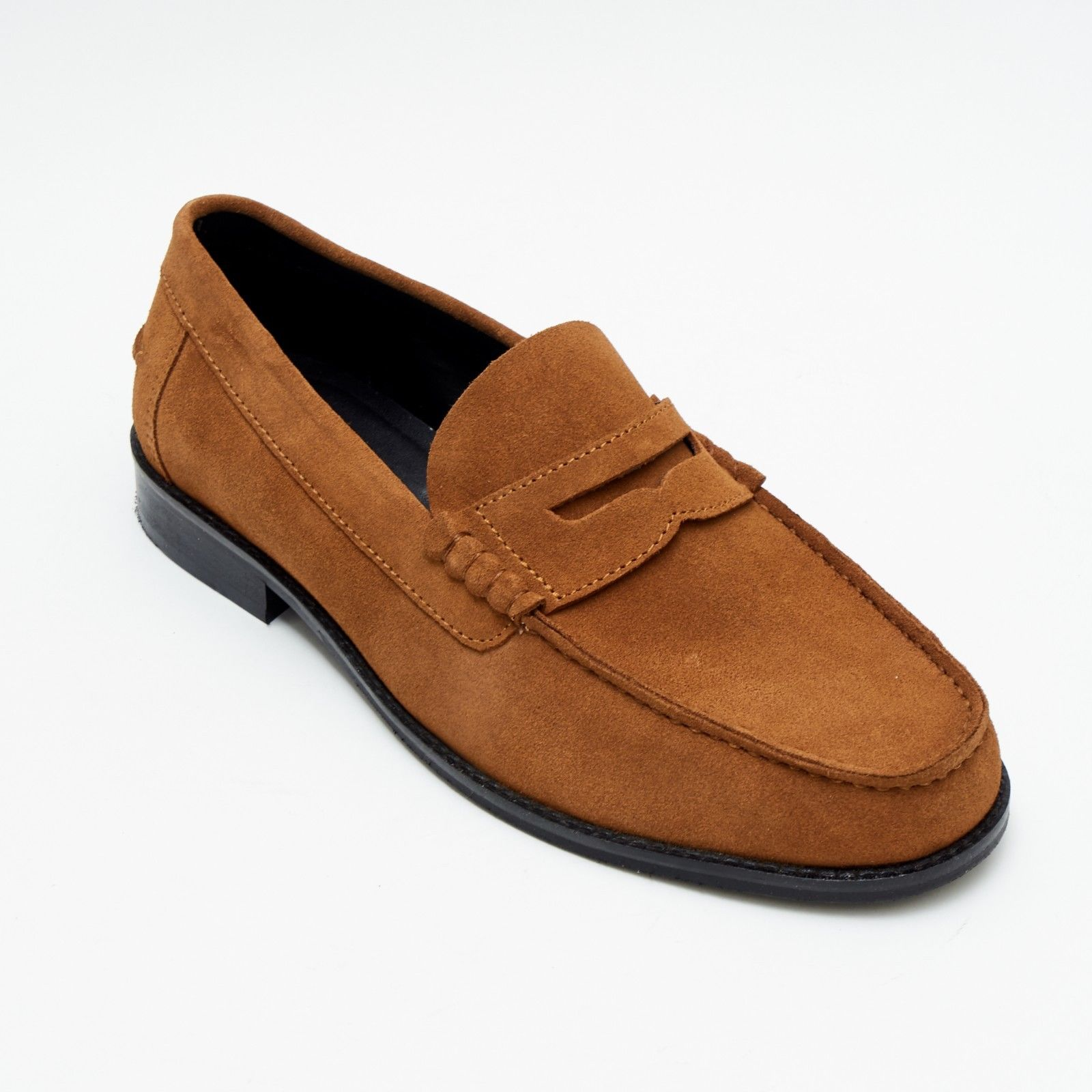 Mens Suede Casual Slip On Shoes - 17925_Tan Suede