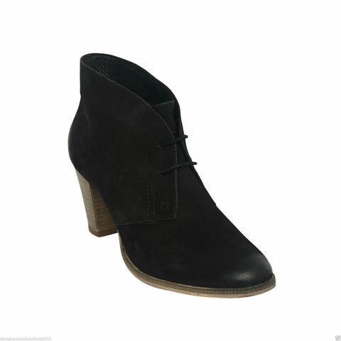 Womens Ladies Cuban Heel ankle Lace up Real Suede Leather ankle boot- Black