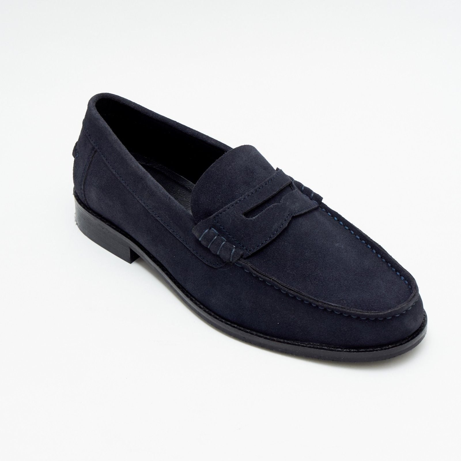 Mens Suede Casual Slip On Shoes - 17925_Navyblue Suede