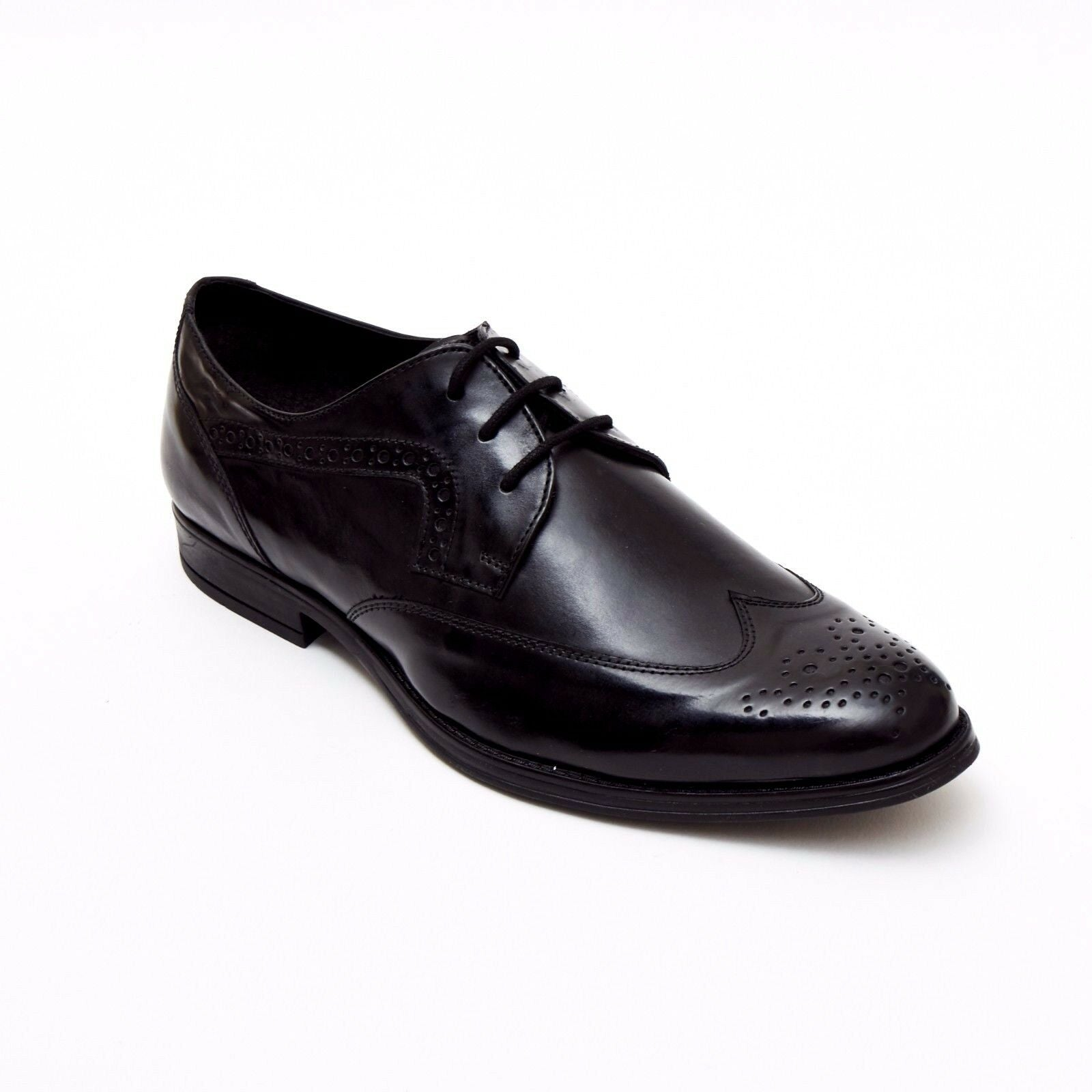 Mens Leather Brogue Classic Oxford Shoe - Black 24102
