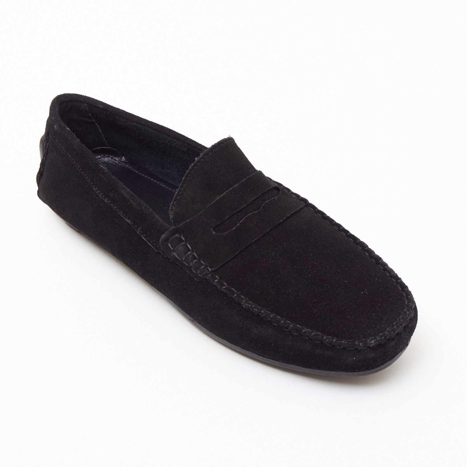 Mens Suede Casual Slip On Shoes - 4611-S_Black